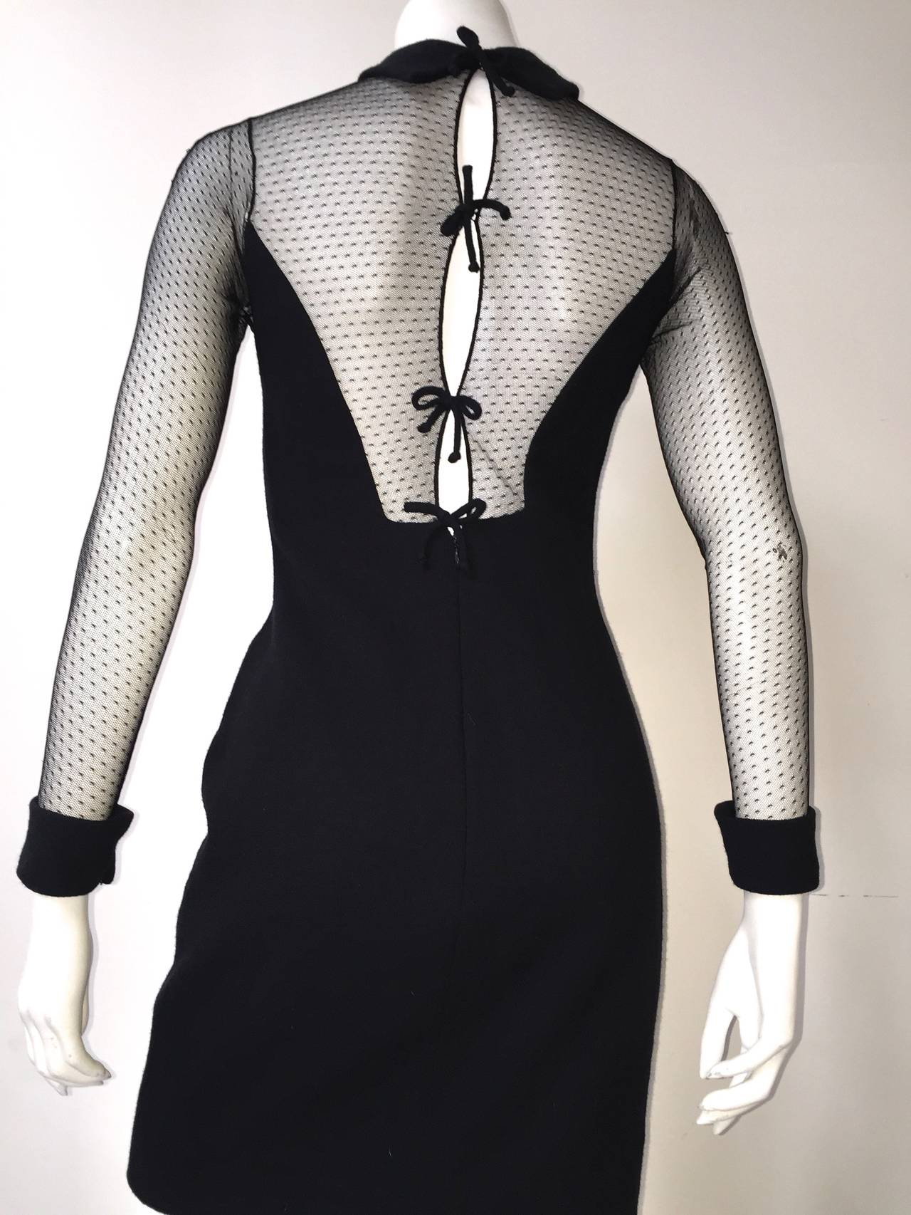 Scaasi Boutique 80s black cocktail dress size 4. For Sale 2