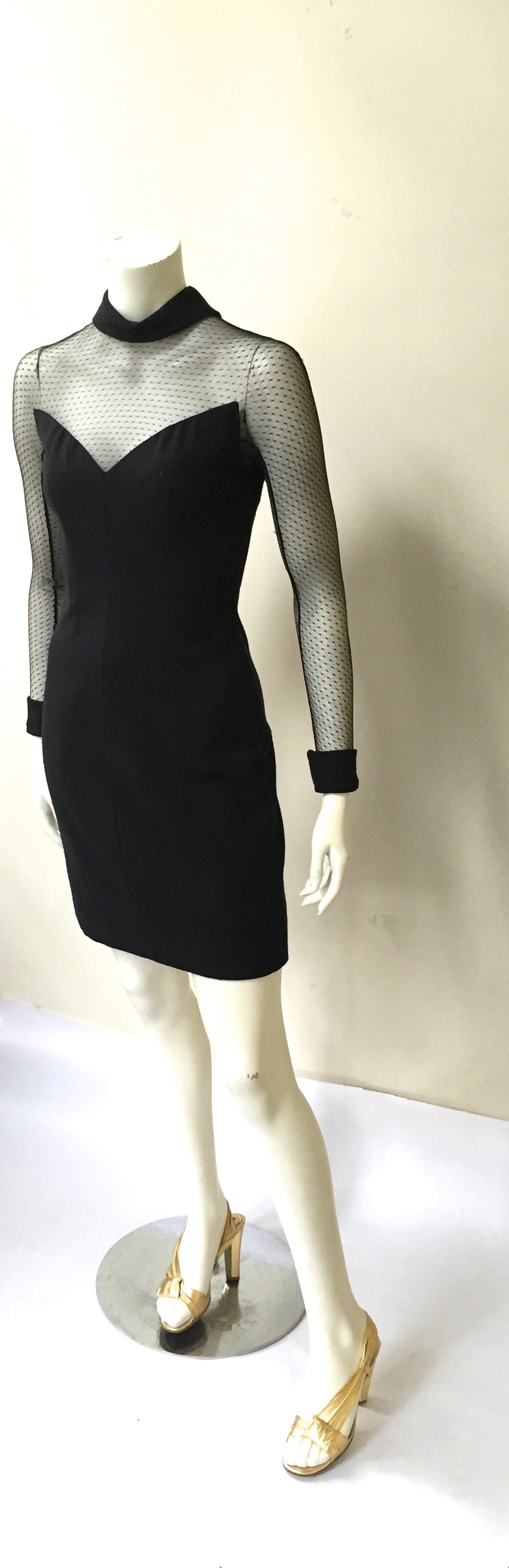 Women's Scaasi Boutique 80s black cocktail dress size 4. For Sale