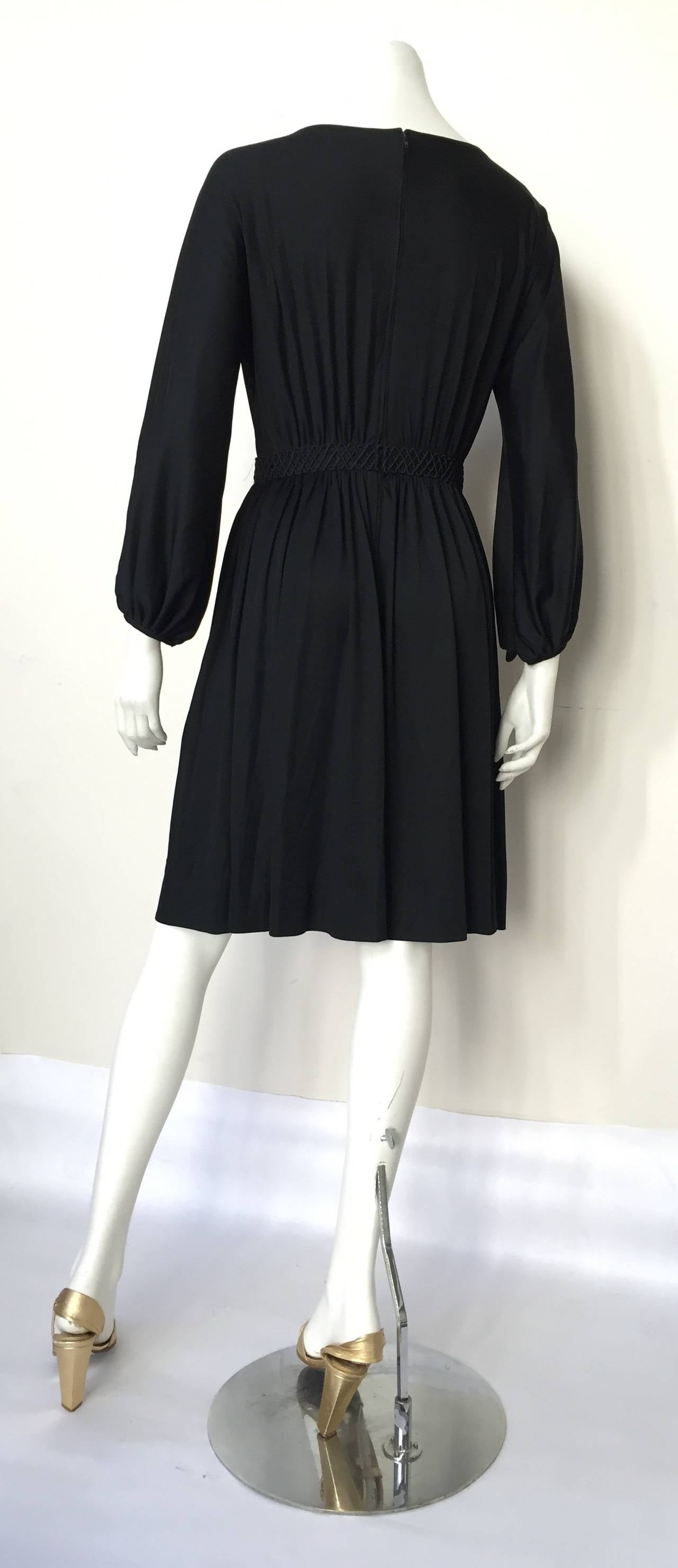 Donald Brooks 70s Black Dress With Pockets Size 6 For