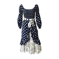 Oscar de la Renta 1970 polka dot Harper's Bazaar dress cover size 4.