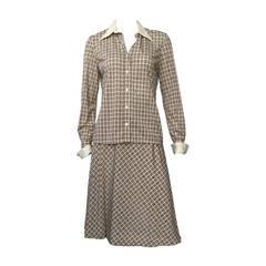 Nina Ricci Logo Blouse and Skirt Set Size 6, 1970s