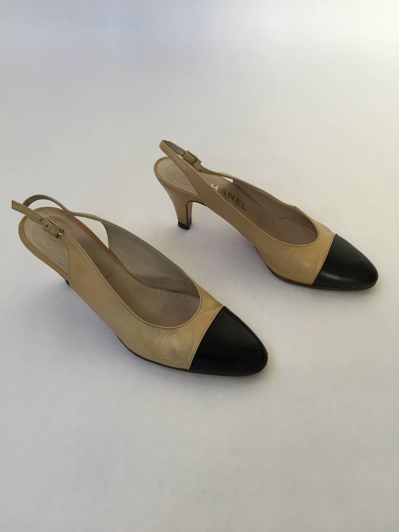 Chanel 1971 classic leather sling back heel original size 7.5 is today size 6.5.