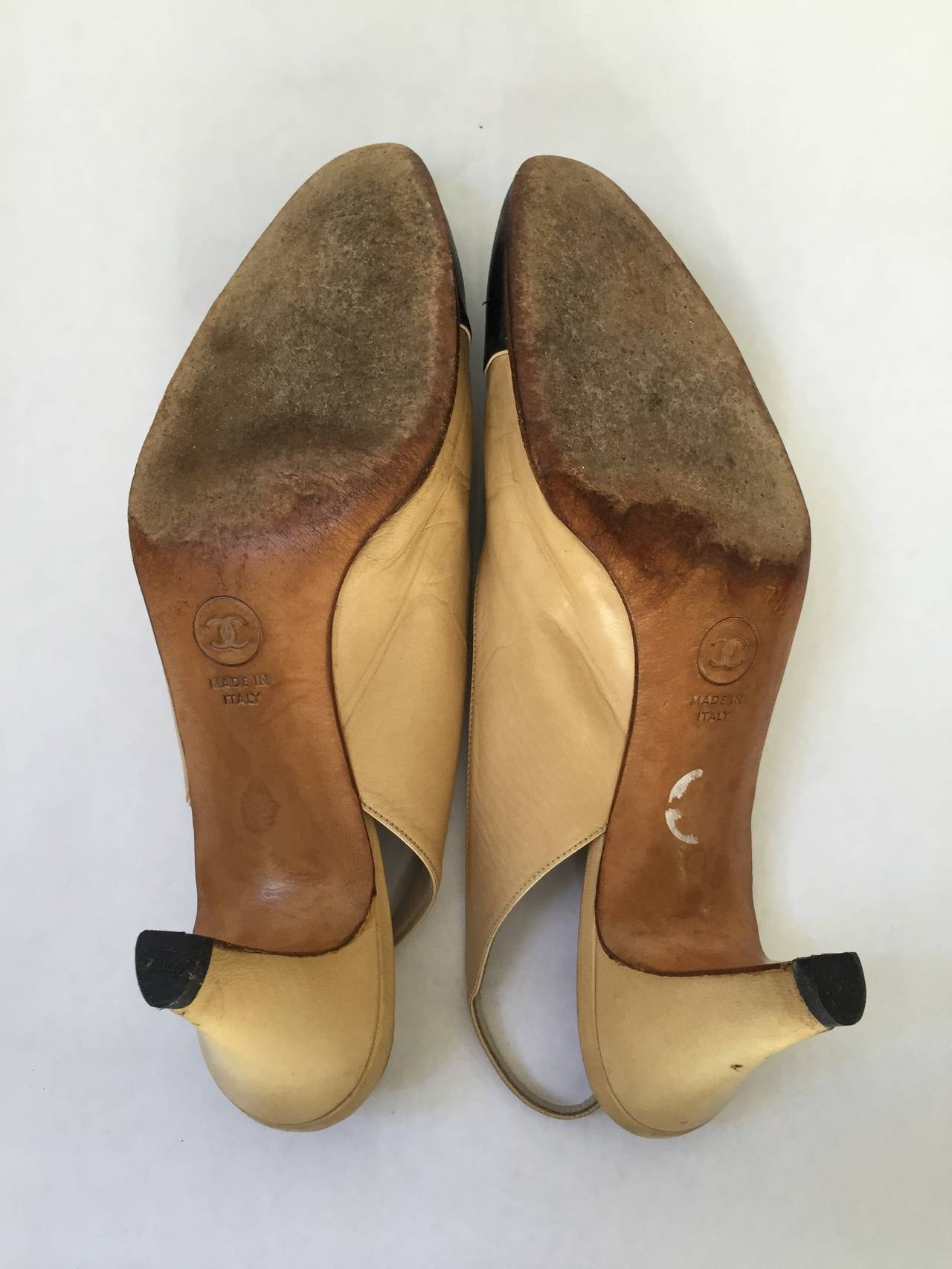 Chanel 1971 classic sling back shoes size 6.5 For Sale 4
