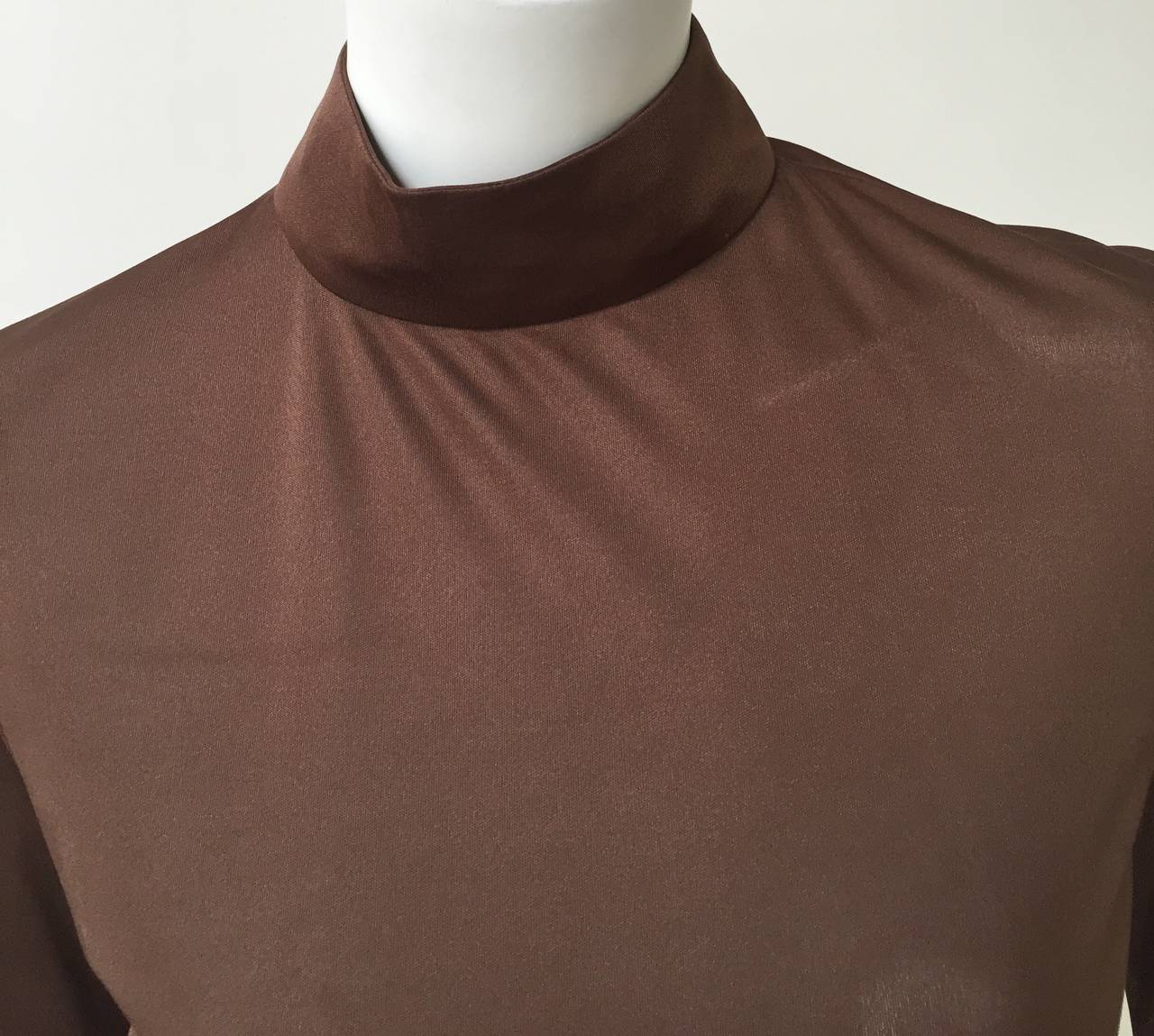 Emilio Pucci 70s Silk Brown Blouse Size 6. 2