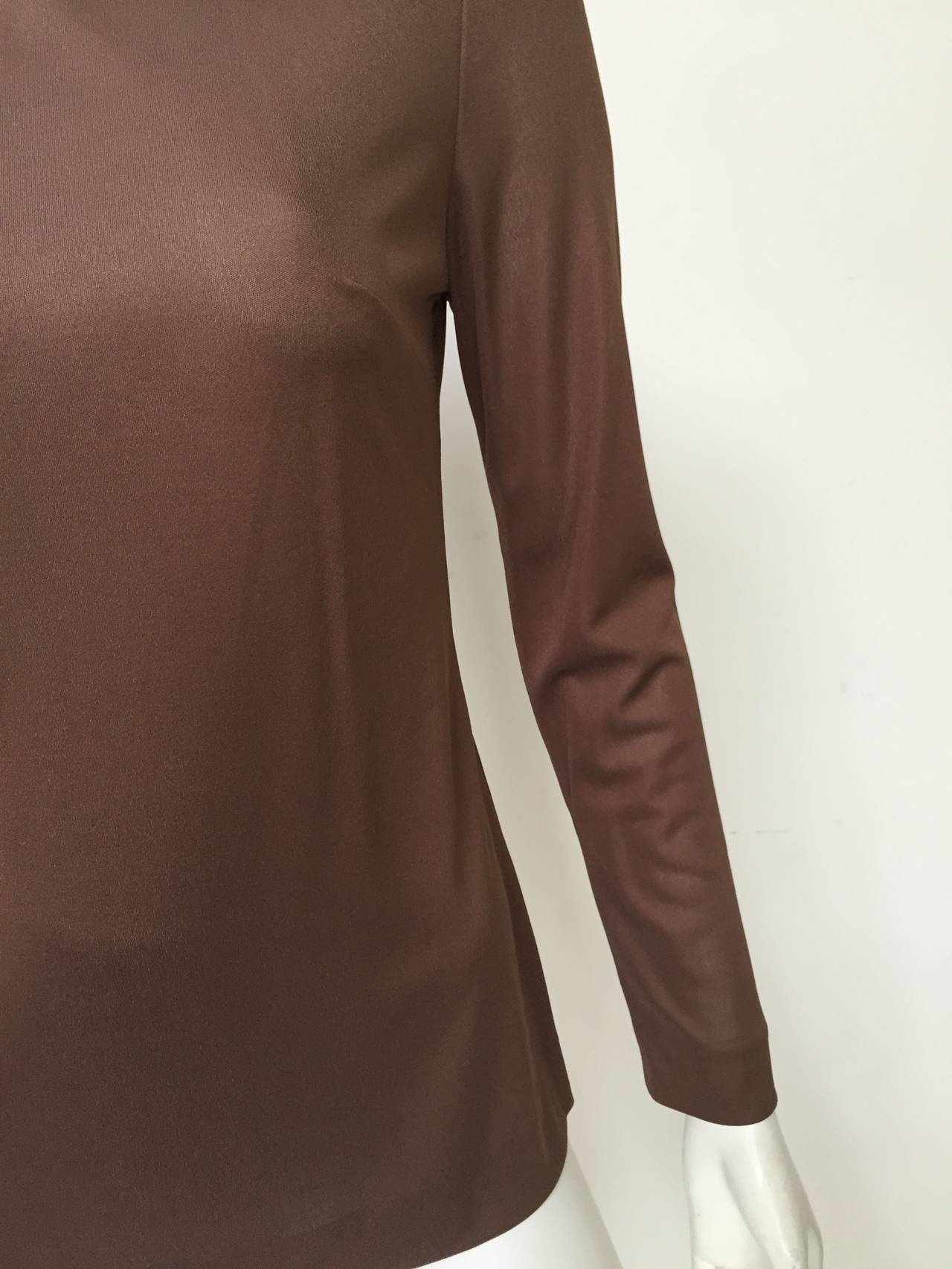 Emilio Pucci 70s Silk Brown Blouse Size 6. 3