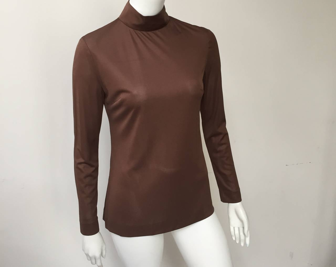 Emilio Pucci 70s Silk Brown Blouse Size 6. 4