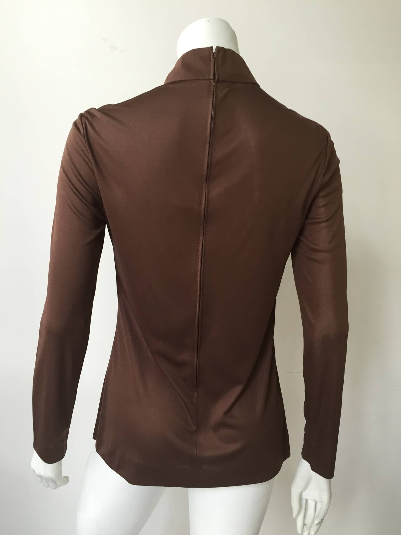 Emilio Pucci 70s Silk Brown Blouse Size 6. 5