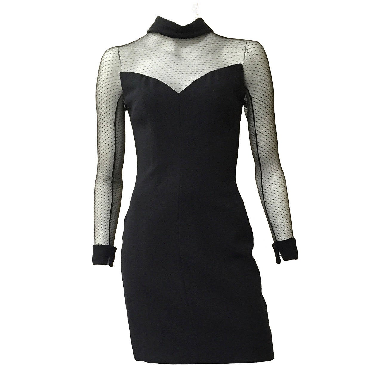 Scaasi Boutique 80s black cocktail dress size 4. For Sale