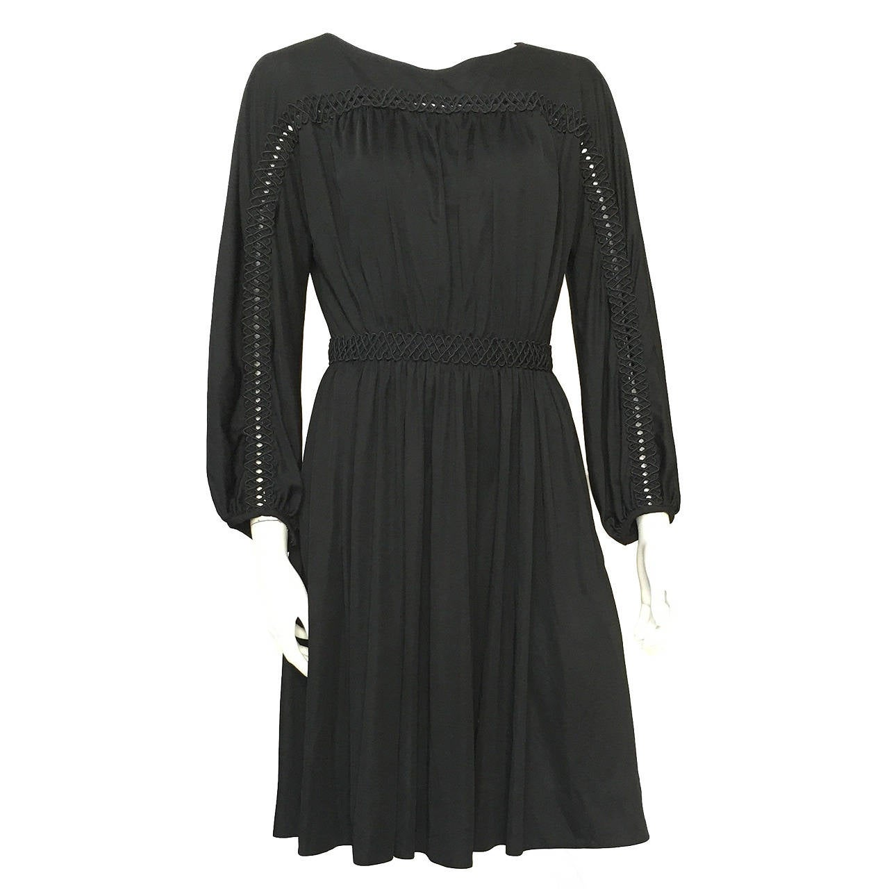 Donald Brooks 70s black dress with pockets size 6.