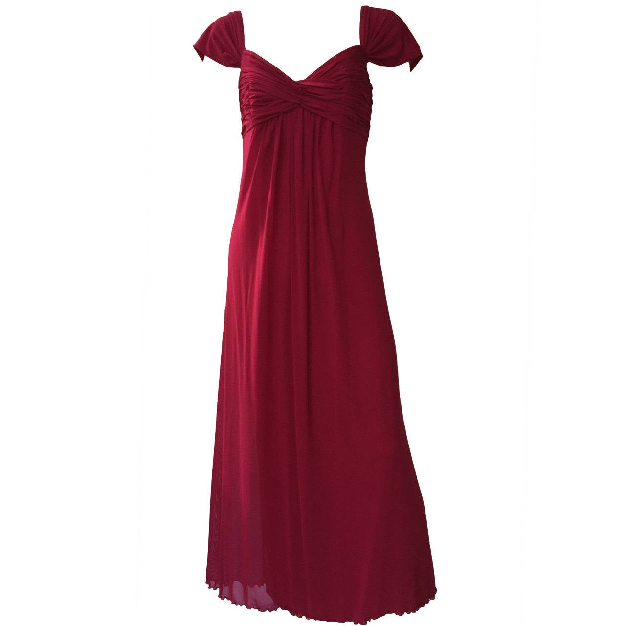 Vicky Tiel Couture Paris Silk Burgundy Evening Gown Size 6/8. For Sale