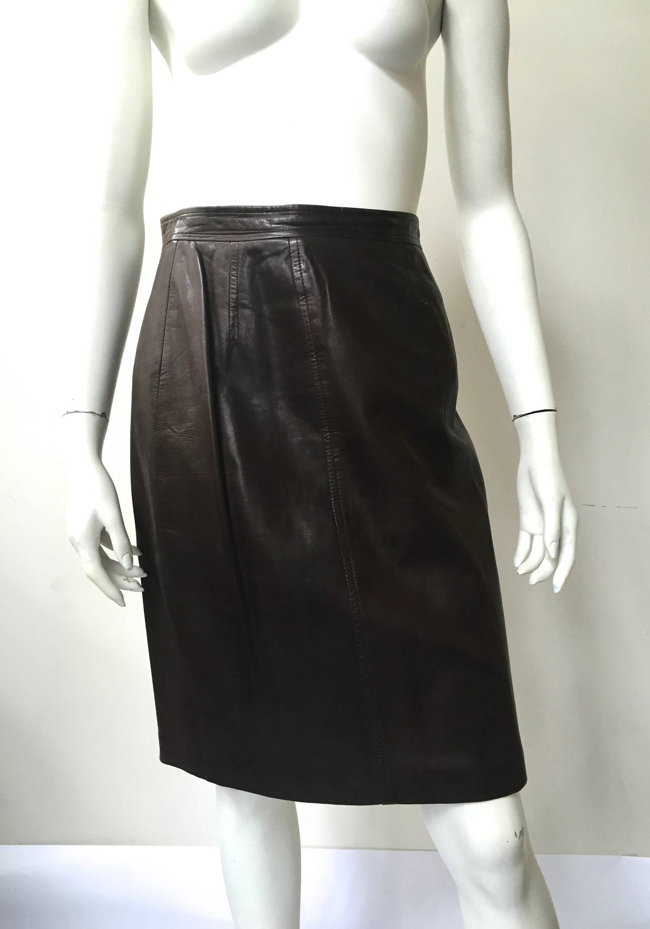 Chanel 80s brown leather skirt size 6. 2