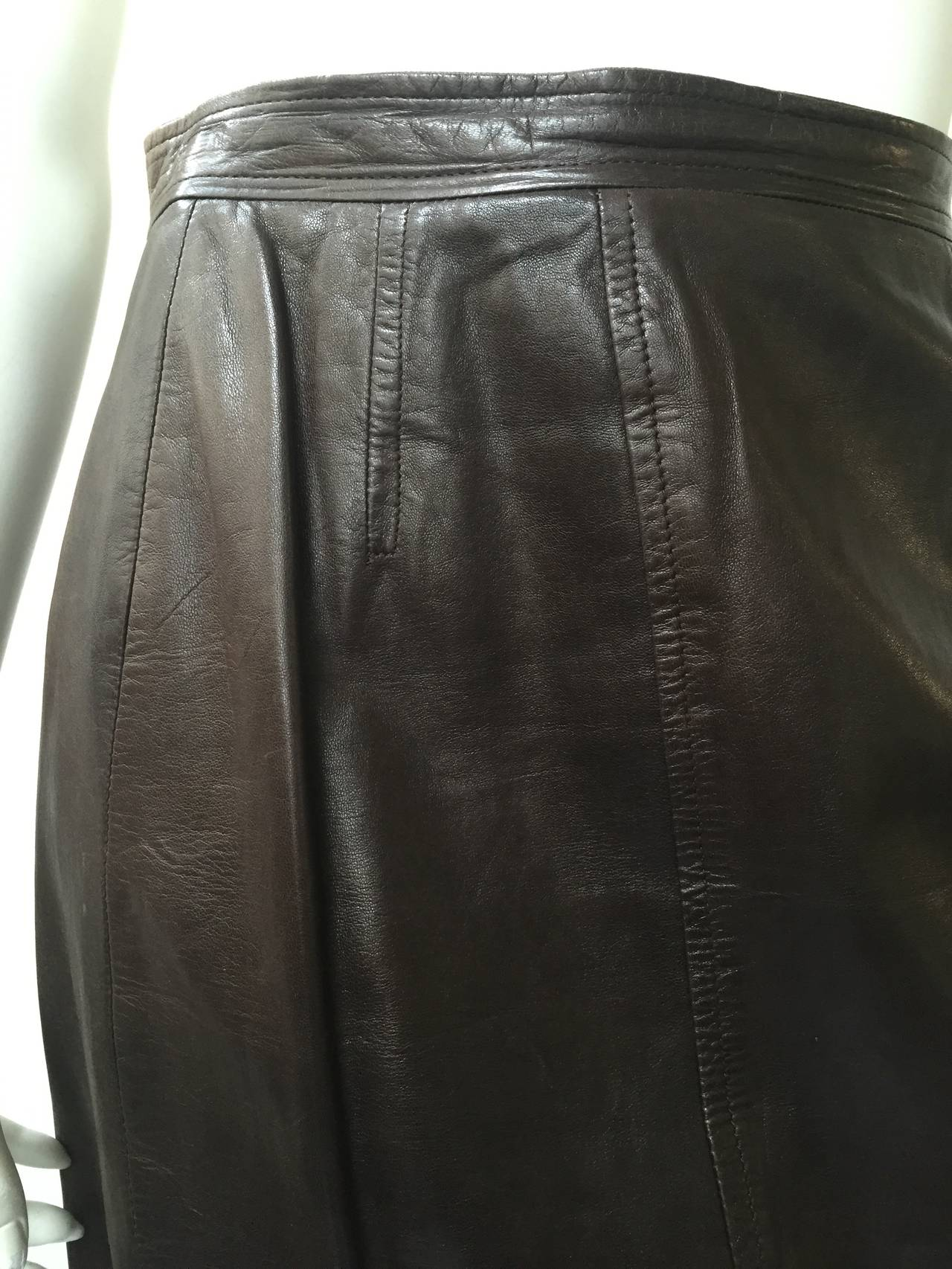 Chanel 80s brown leather skirt size 6. 3