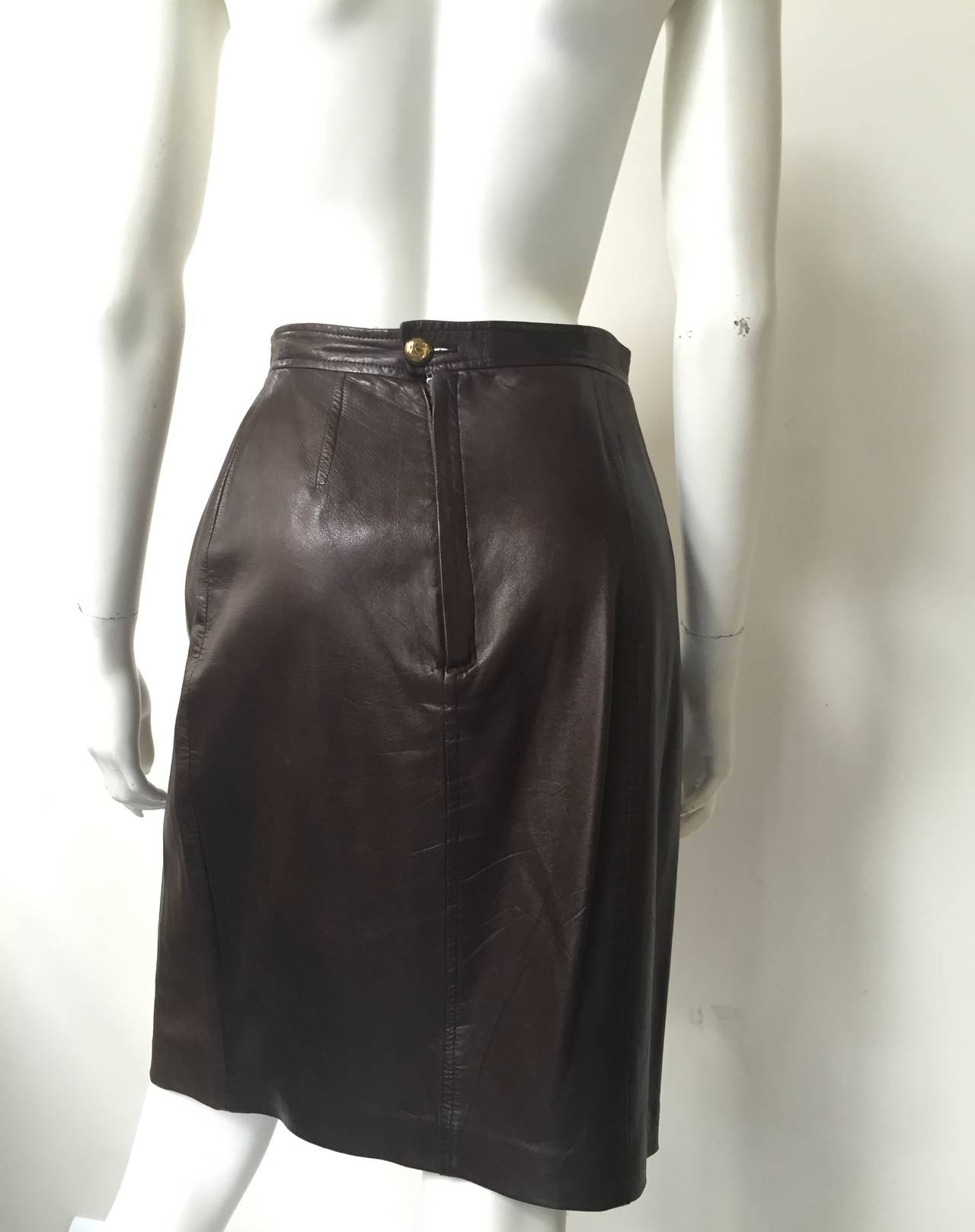 Chanel 80s brown leather skirt size 6. 5