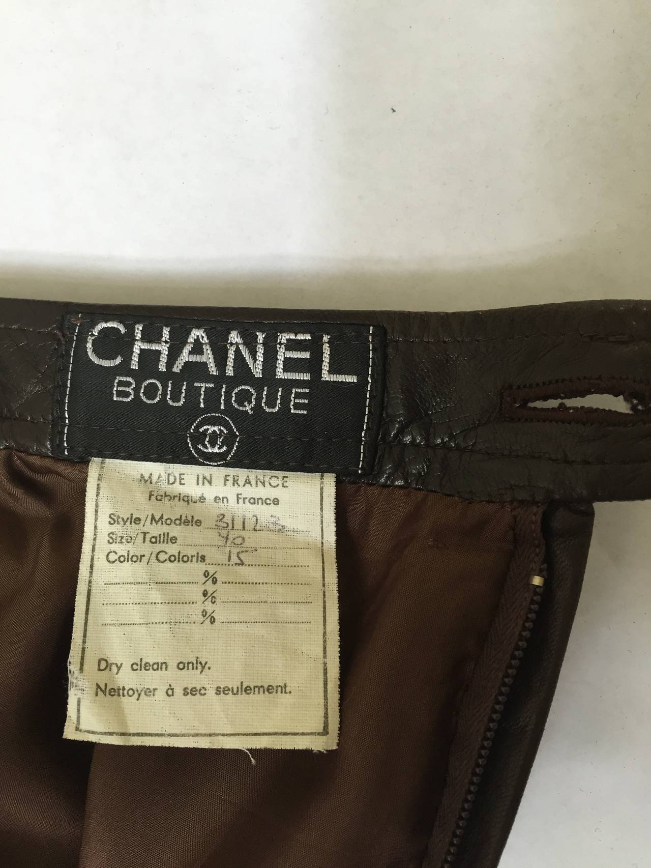 Chanel 80s brown leather skirt size 6. 10
