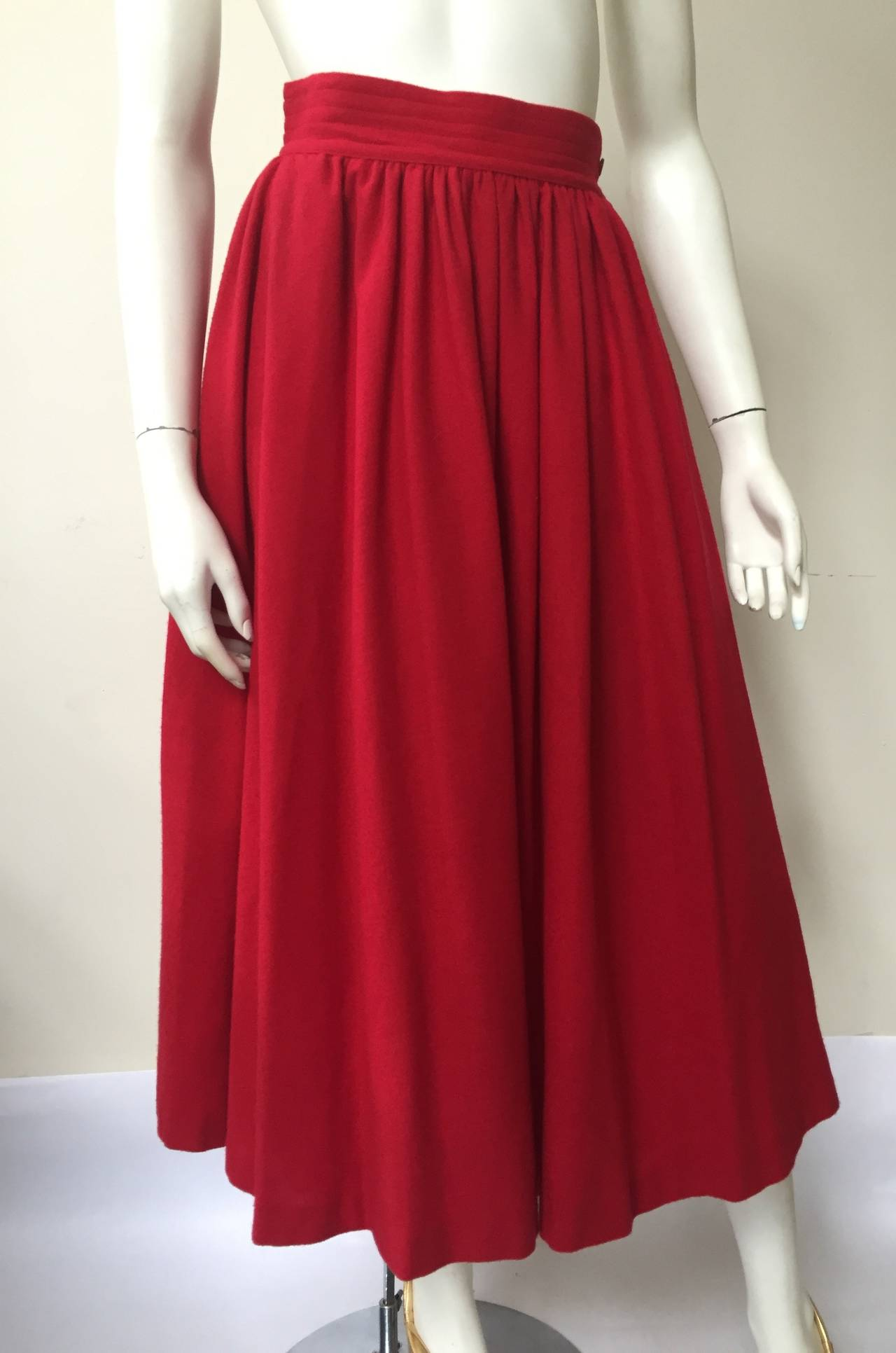 Saint Laurent Rive Gauche 70s red skirt size 4. 2
