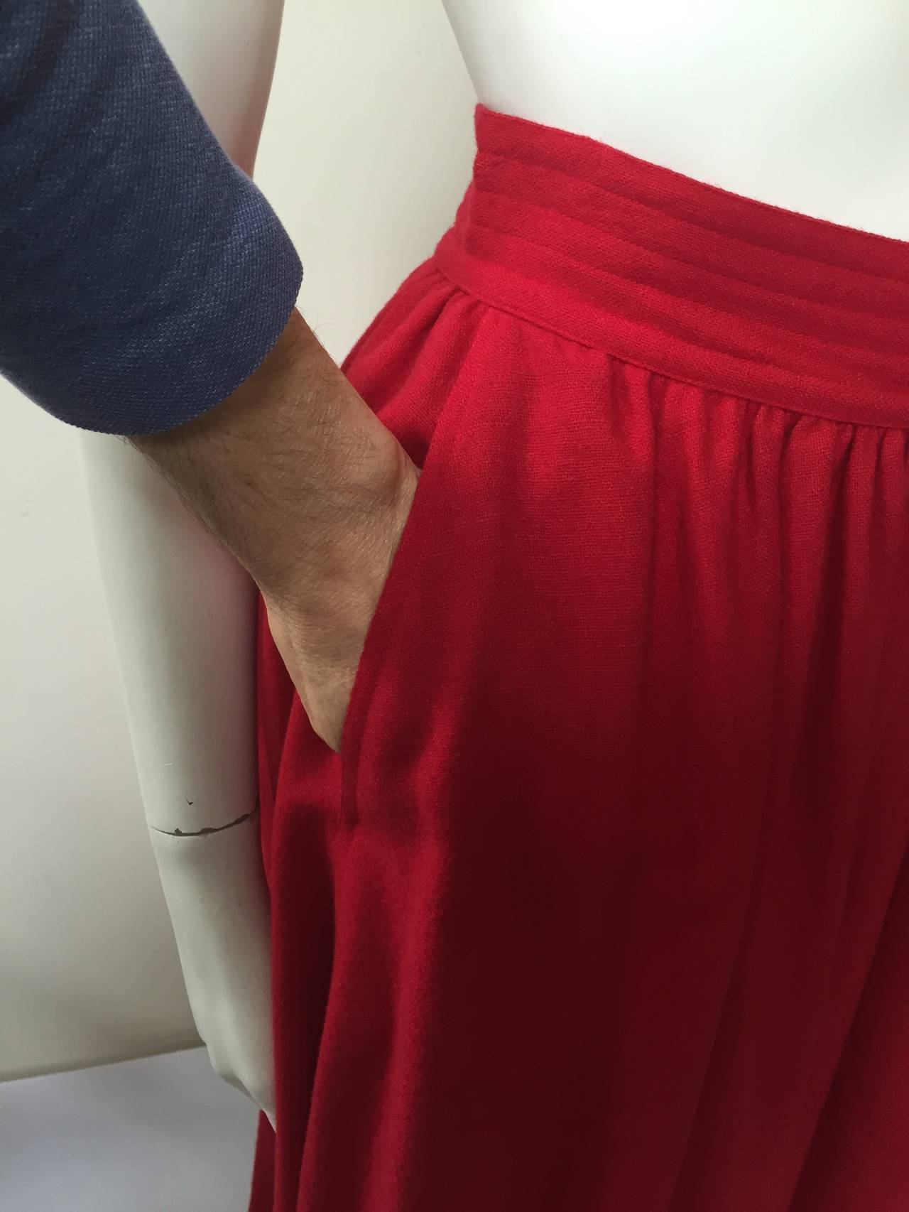 Saint Laurent Rive Gauche 70s red skirt size 4. 3