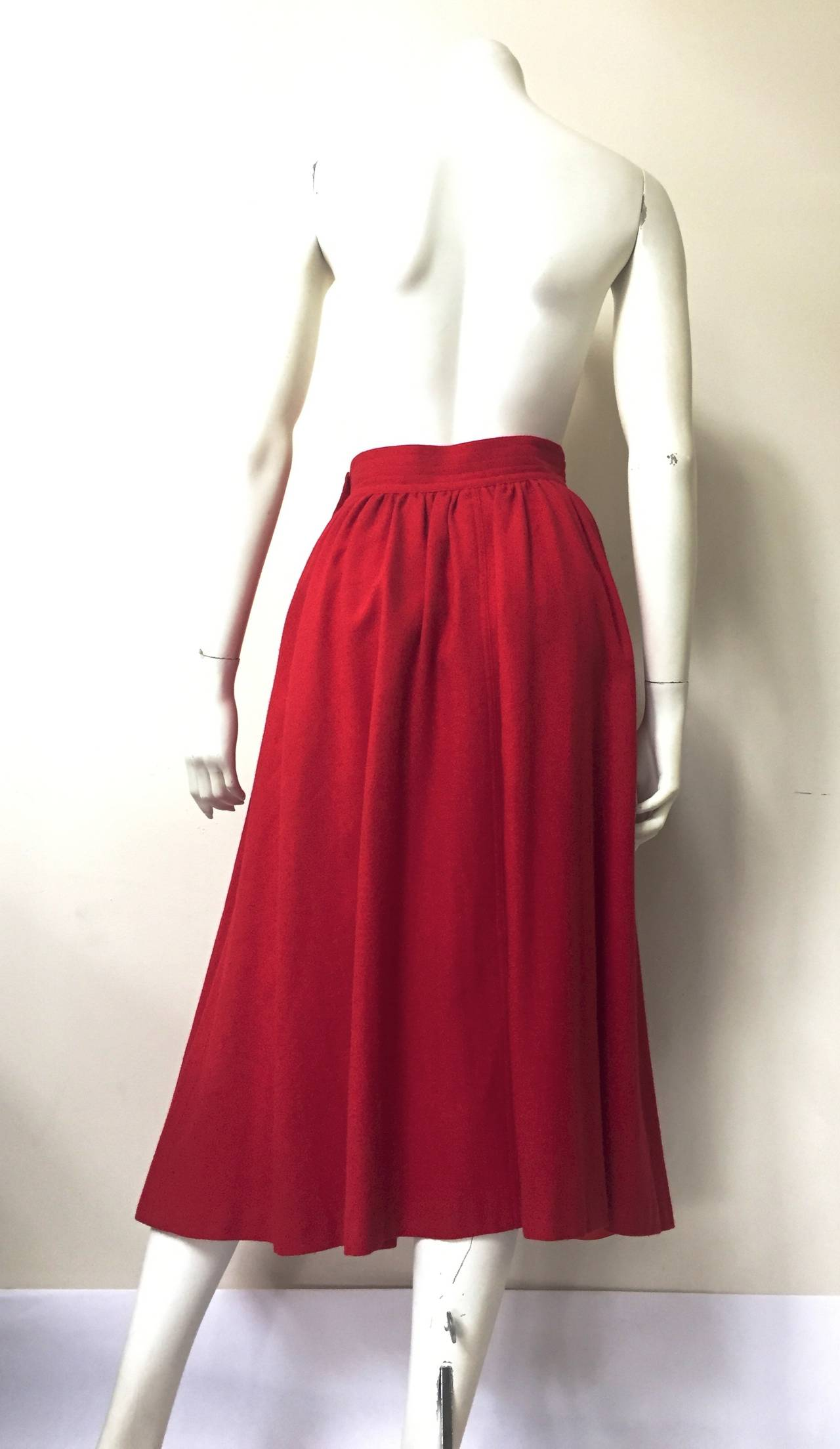 Saint Laurent Rive Gauche 70s red skirt size 4. 5