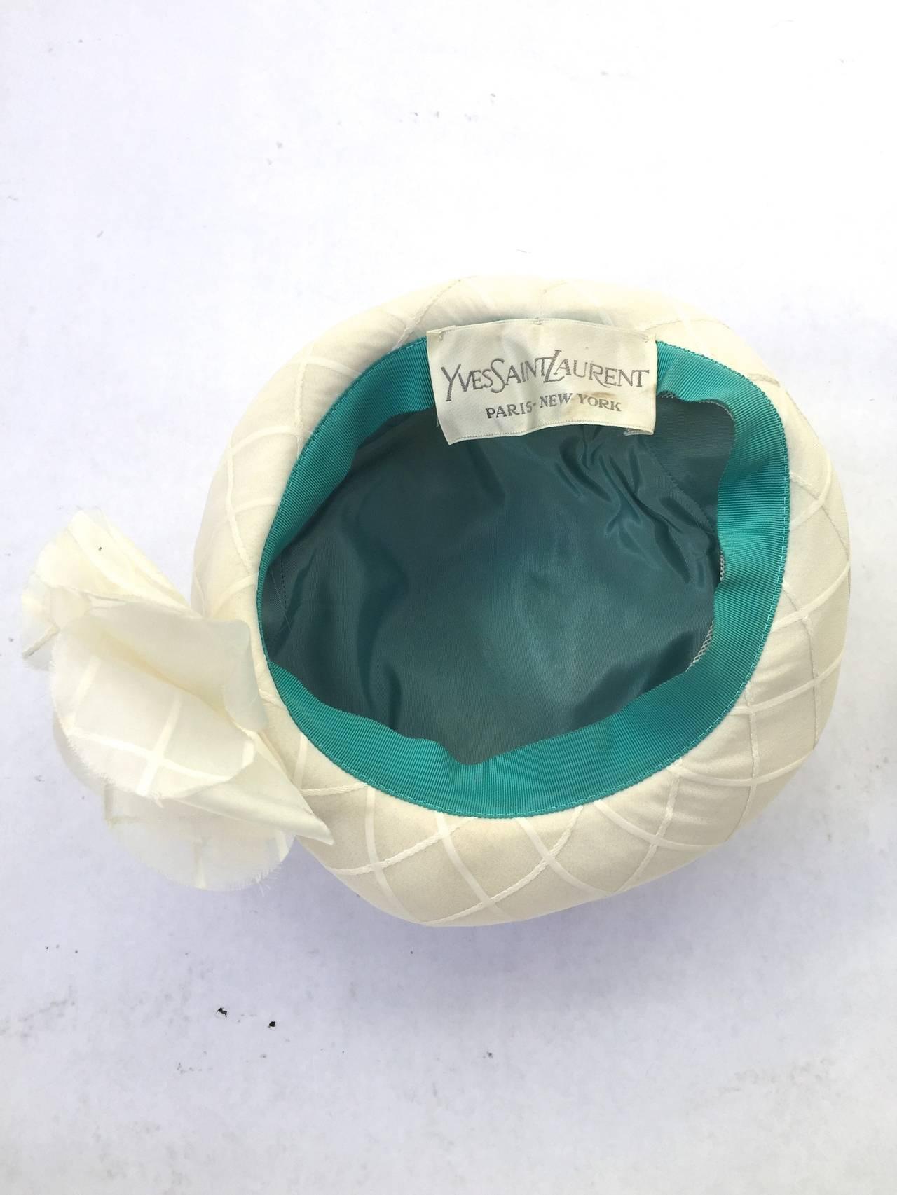 Yves Saint Laurent 60s white silk hat . 7