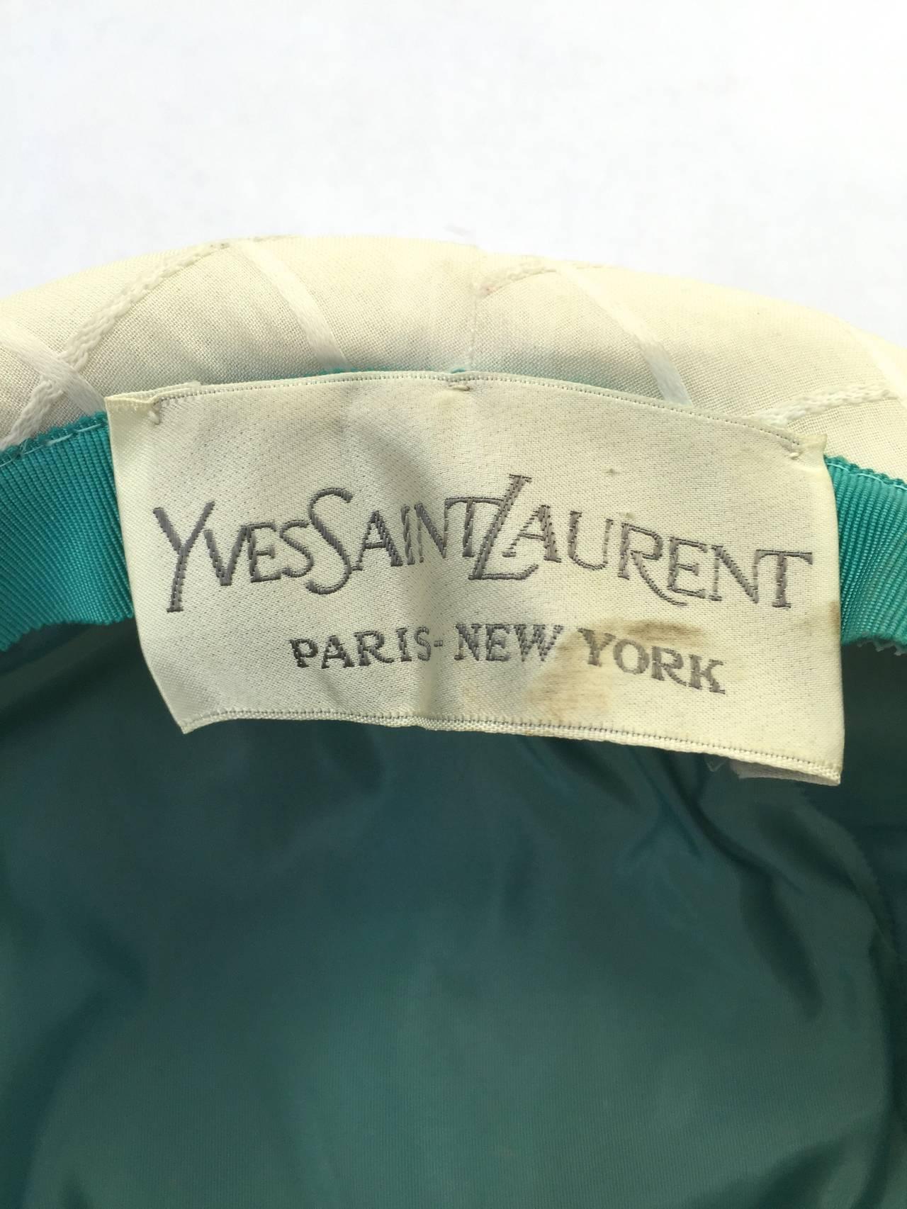 Yves Saint Laurent 60s white silk hat . 8