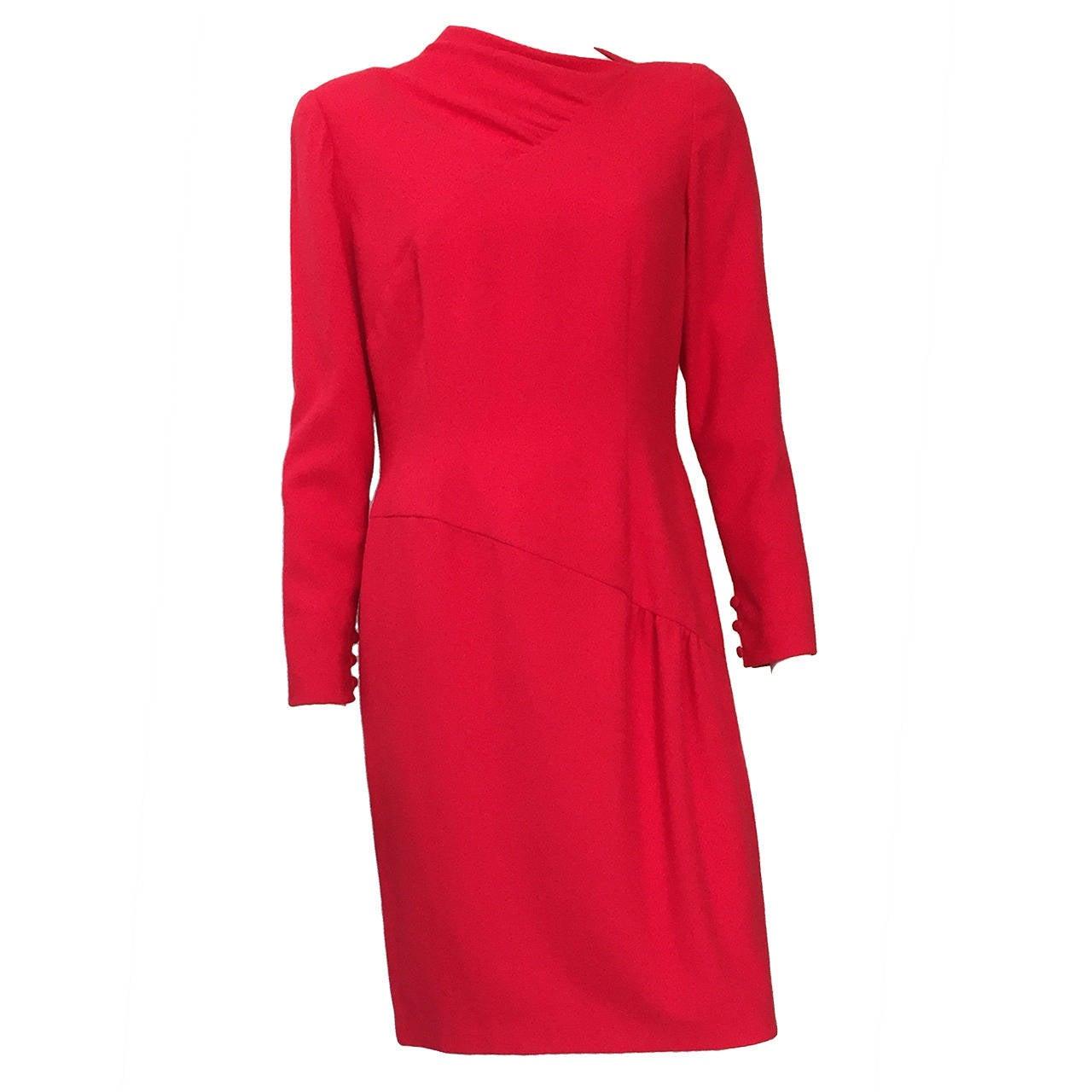 Bill Blass  70s Red Wool Dress Size 12.
