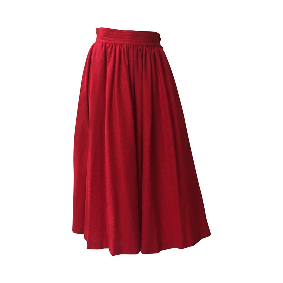 Saint Laurent Rive Gauche 70s red skirt size 4. 1