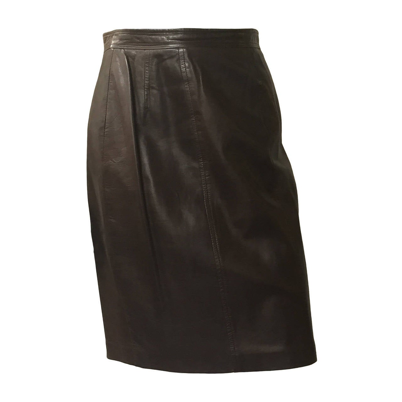 chanel 80s brown leather skirt size 6 for sale at 1stdibs