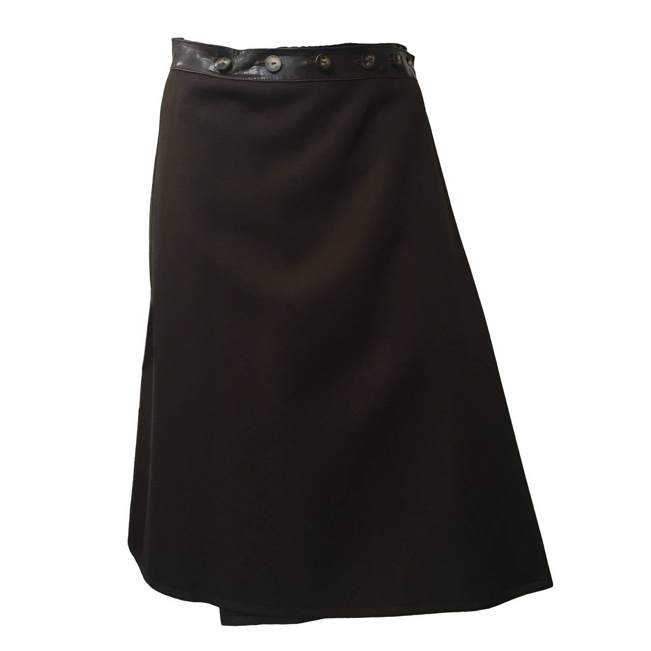 Celine Brown Wool with Leather Trim Wrap Skirt Size 6.