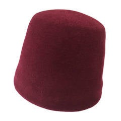 Yves Saint Laurent 1970s Iconic Fez Burgundy Wool Hat.