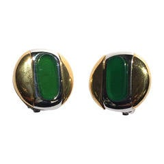 Givenchy 1977 modern clip earrings.