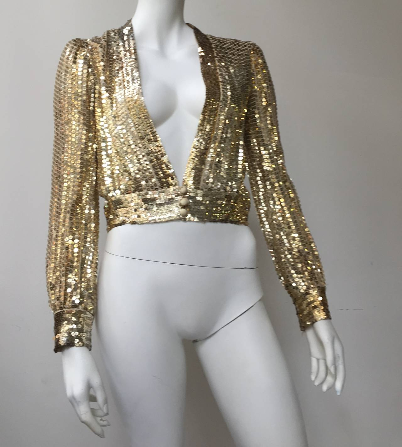 Scott Barrie 70s gold sequin cropped jacket size 4. 2