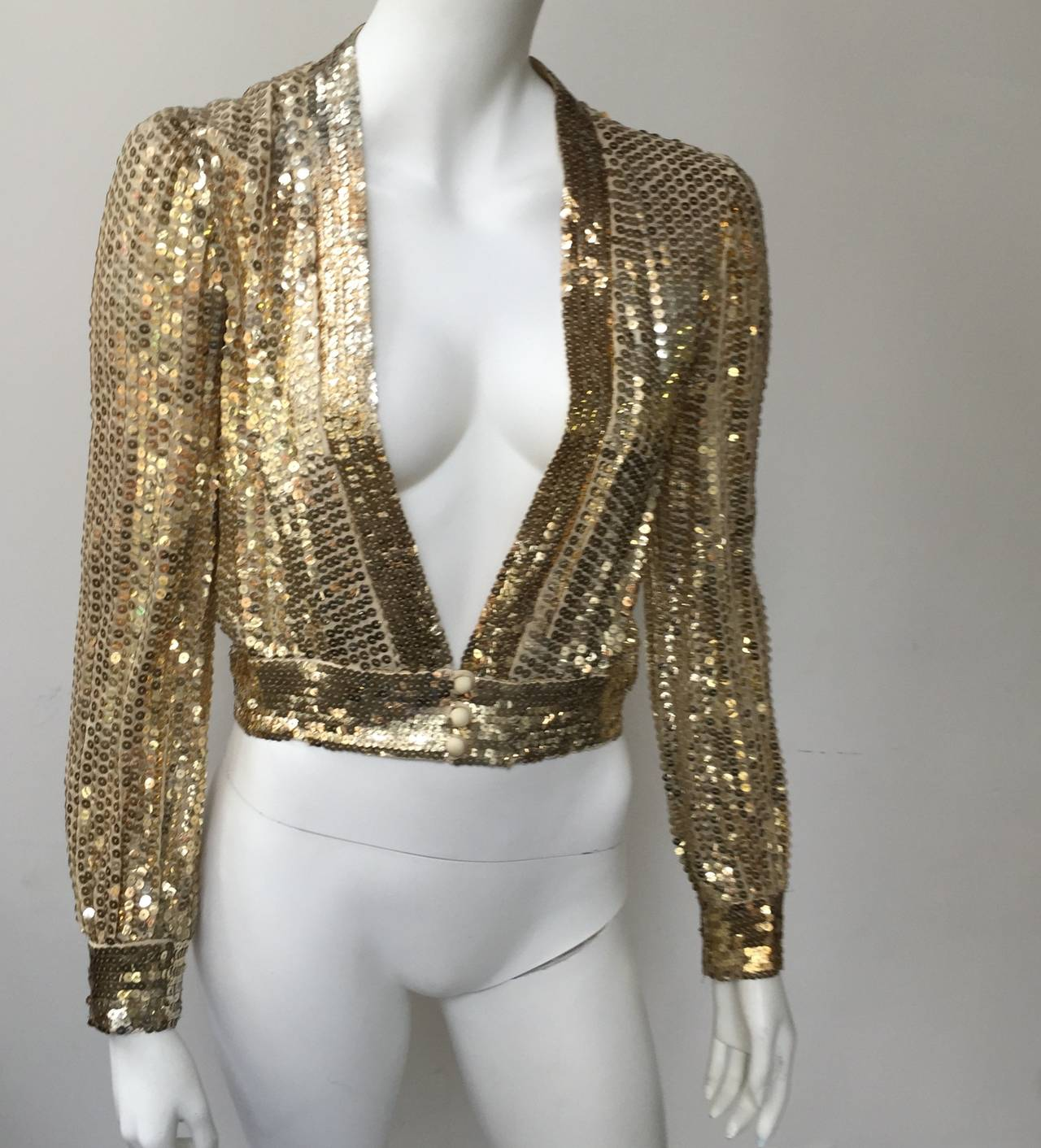 Scott Barrie 70s gold sequin cropped jacket size 4. 3