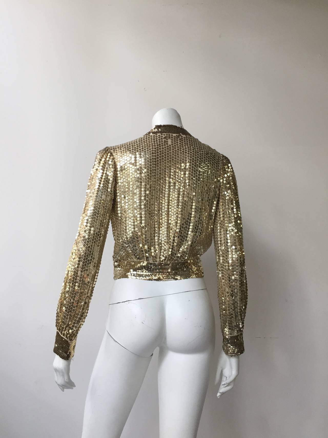 Scott Barrie 70s gold sequin cropped jacket size 4. 5