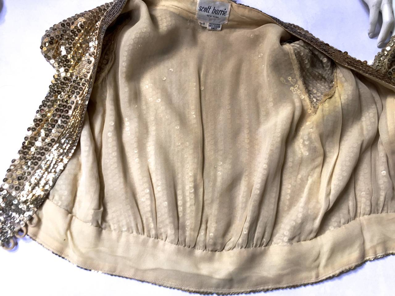 Scott Barrie 70s gold sequin cropped jacket size 4. 8
