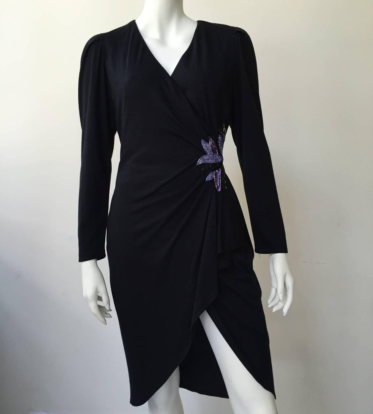 Zandra Rhodes 1980s Black with Sequin Dress Size 6. 2