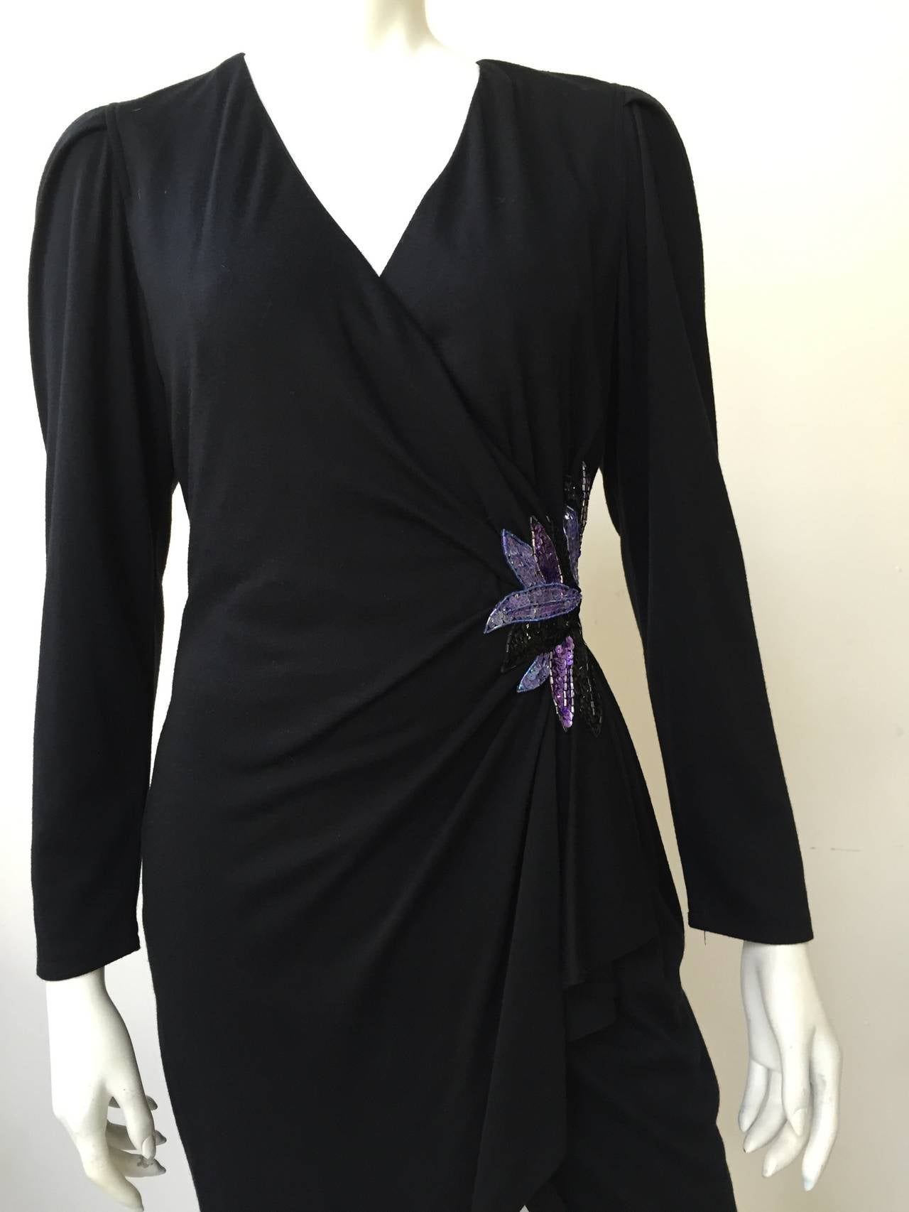 Zandra Rhodes 1980s Black with Sequin Dress Size 6. 3