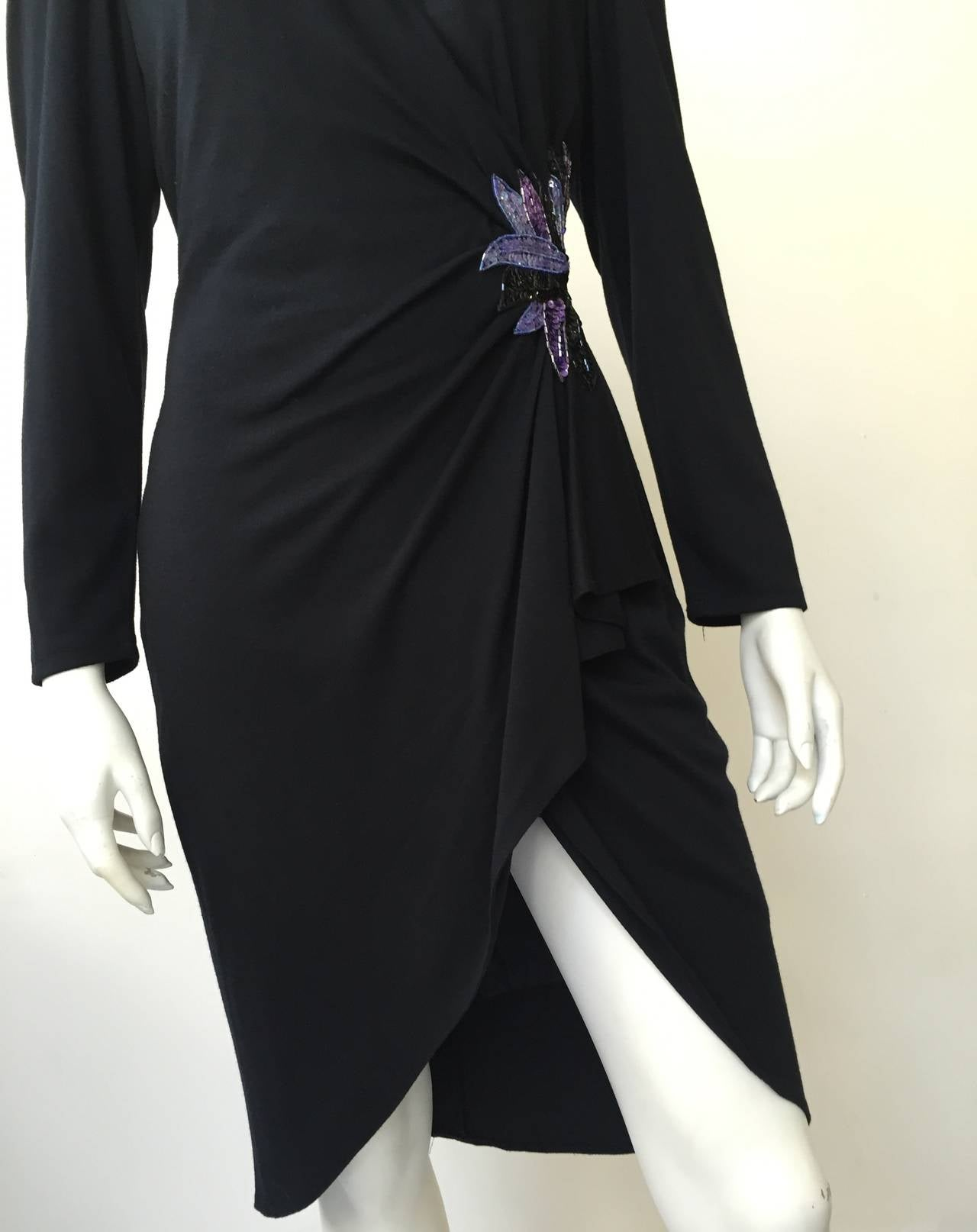 Zandra Rhodes 1980s Black with Sequin Dress Size 6. 4