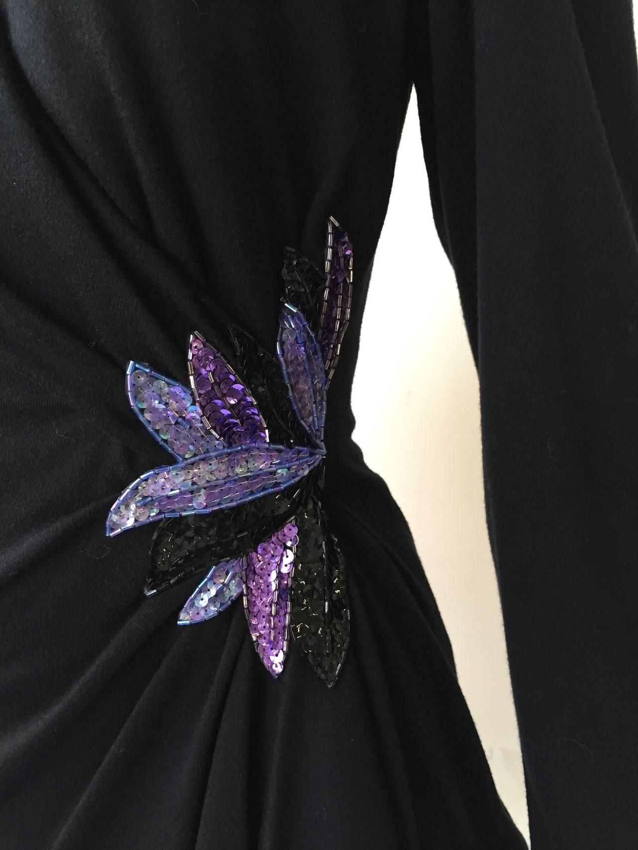 Zandra Rhodes 1980s Black with Sequin Dress Size 6. 5