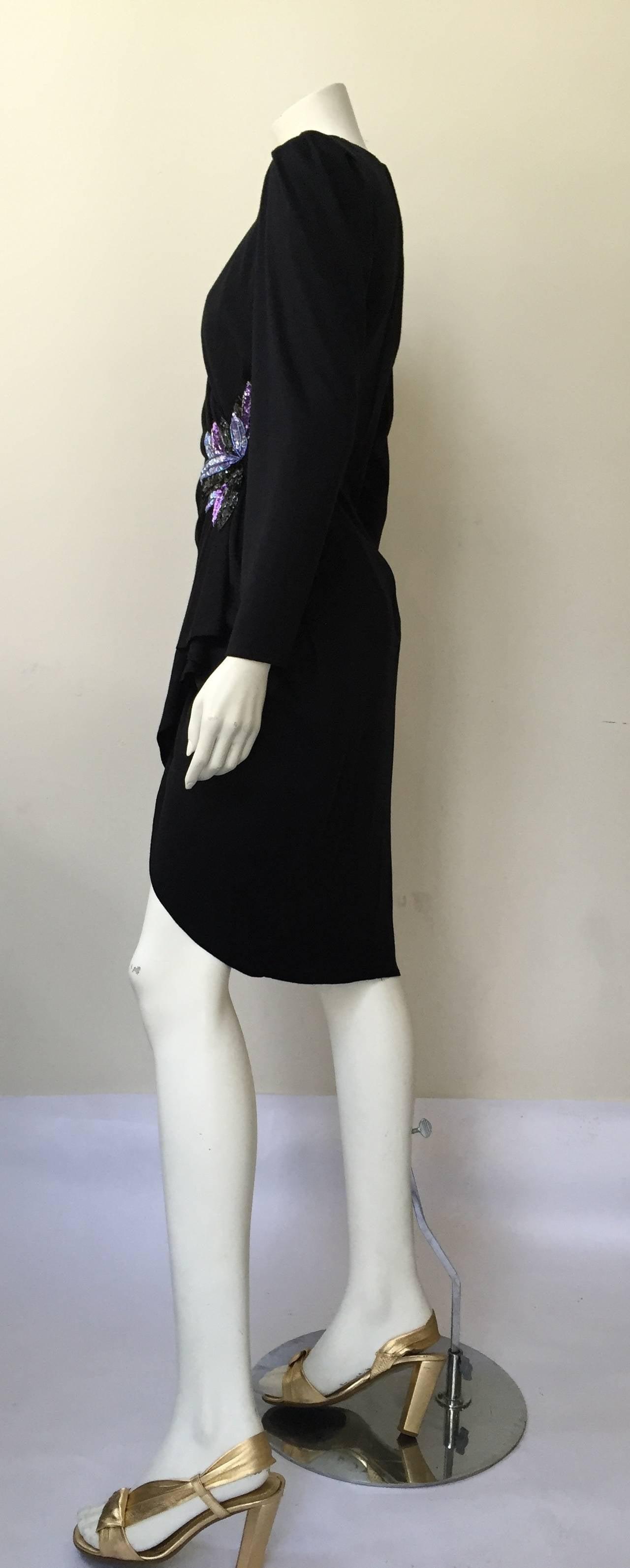Zandra Rhodes 1980s Black with Sequin Dress Size 6. 7