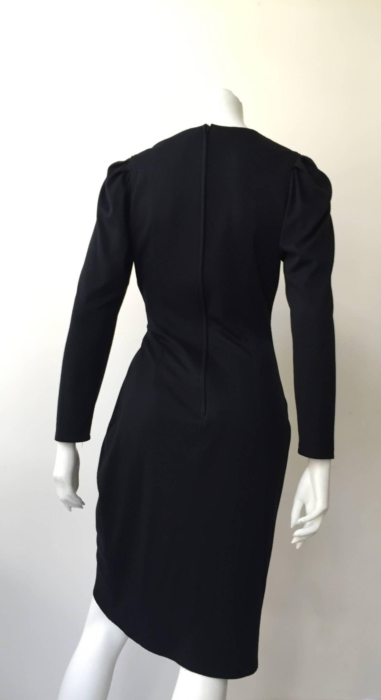 Zandra Rhodes 1980s Black with Sequin Dress Size 6. 8