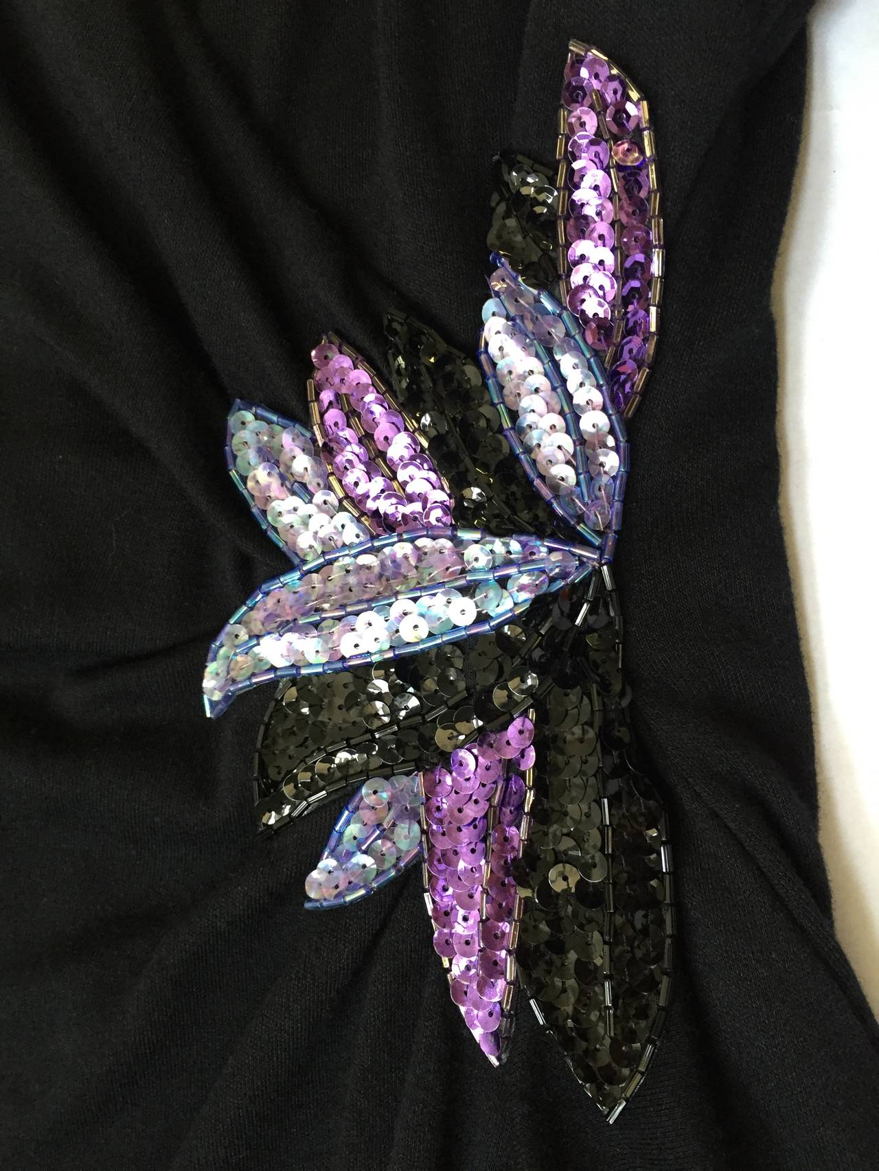 Zandra Rhodes 1980s Black with Sequin Dress Size 6. 9