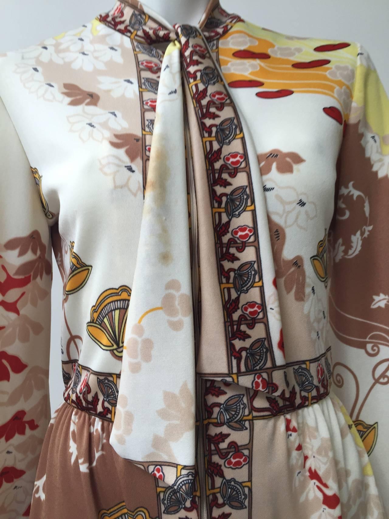 Paganne by Gene Berk 70s Asian landscape maxi dress size 4/6. In Good Condition In Atlanta, GA