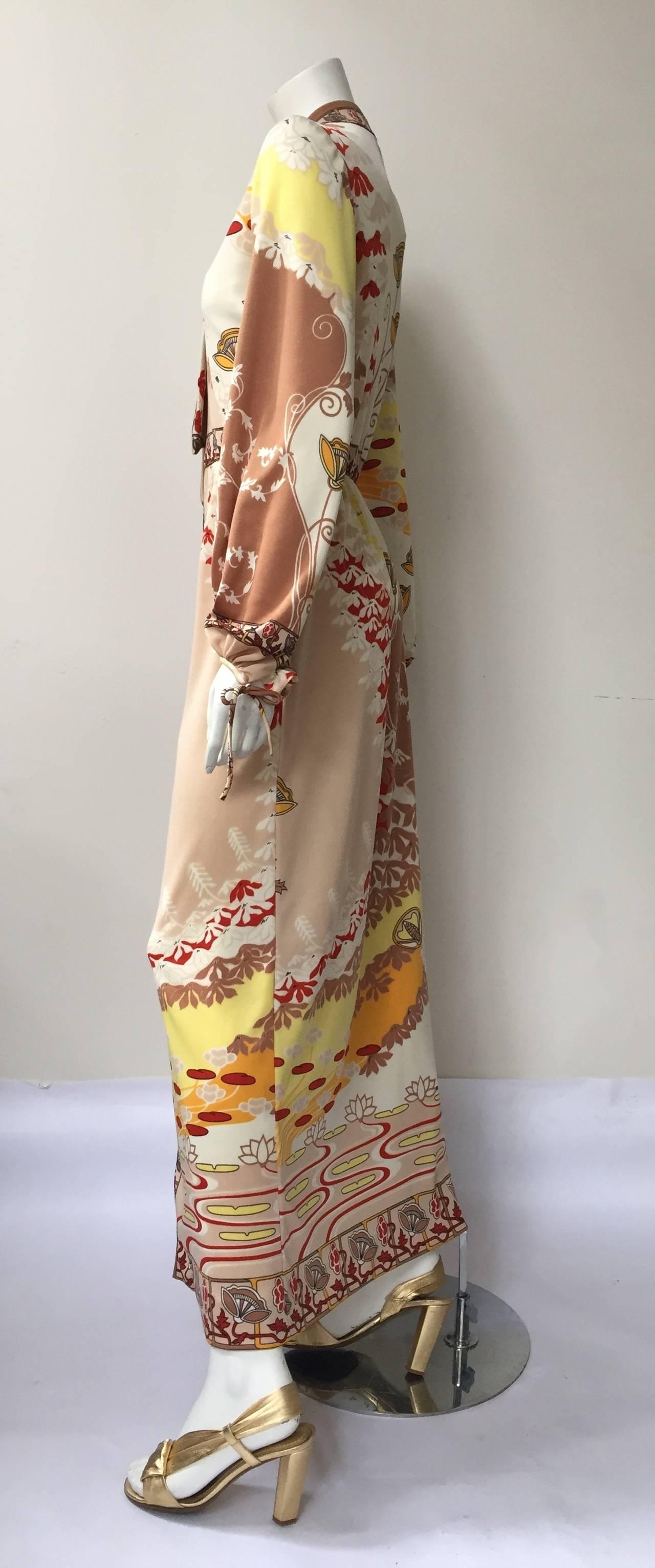 Paganne by Gene Berk 70s Asian landscape maxi dress size 4/6. 2