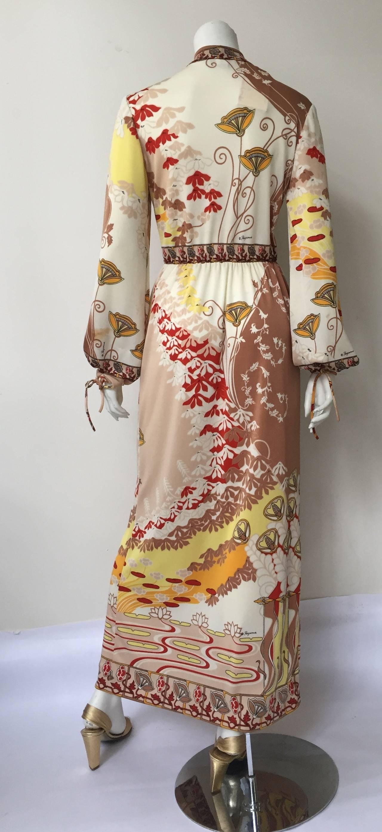 Paganne by Gene Berk 70s Asian landscape maxi dress size 4/6. 3