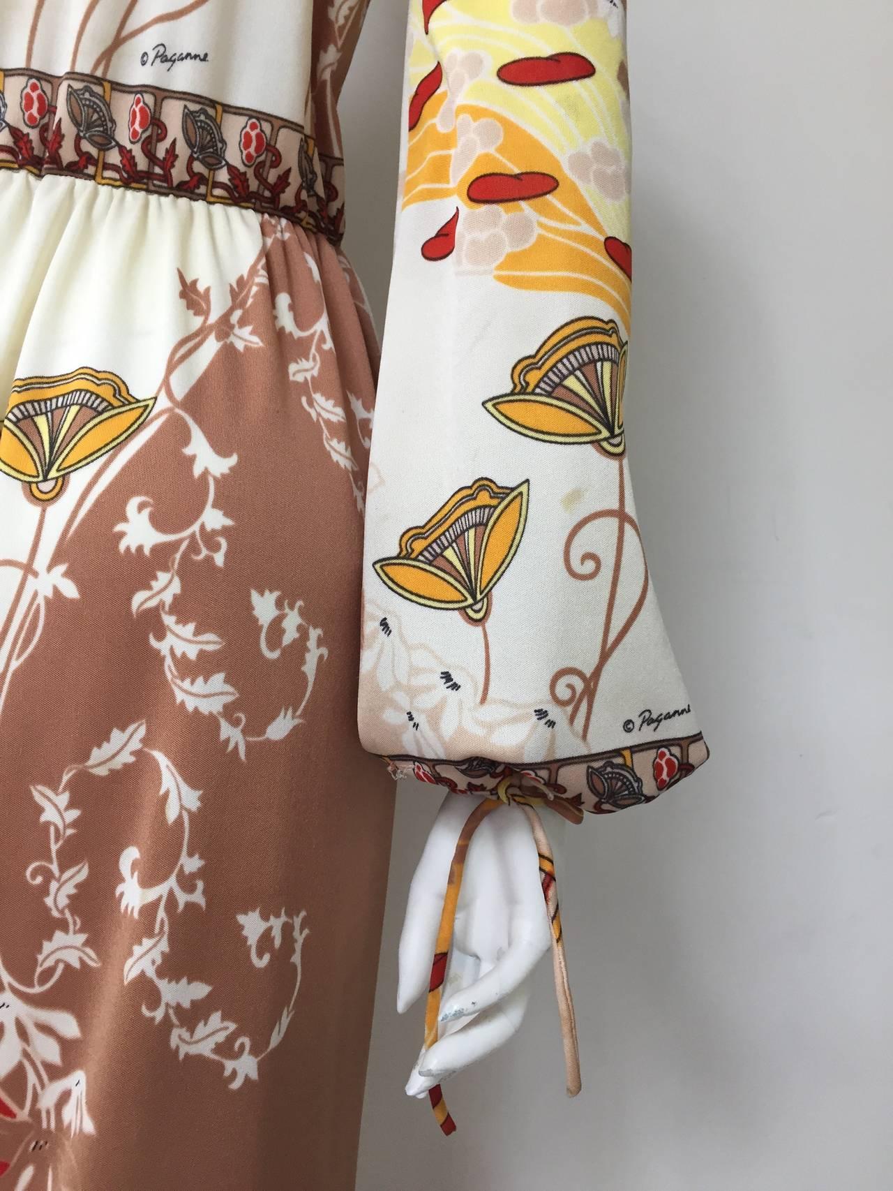 Paganne by Gene Berk 70s Asian landscape maxi dress size 4/6. 4
