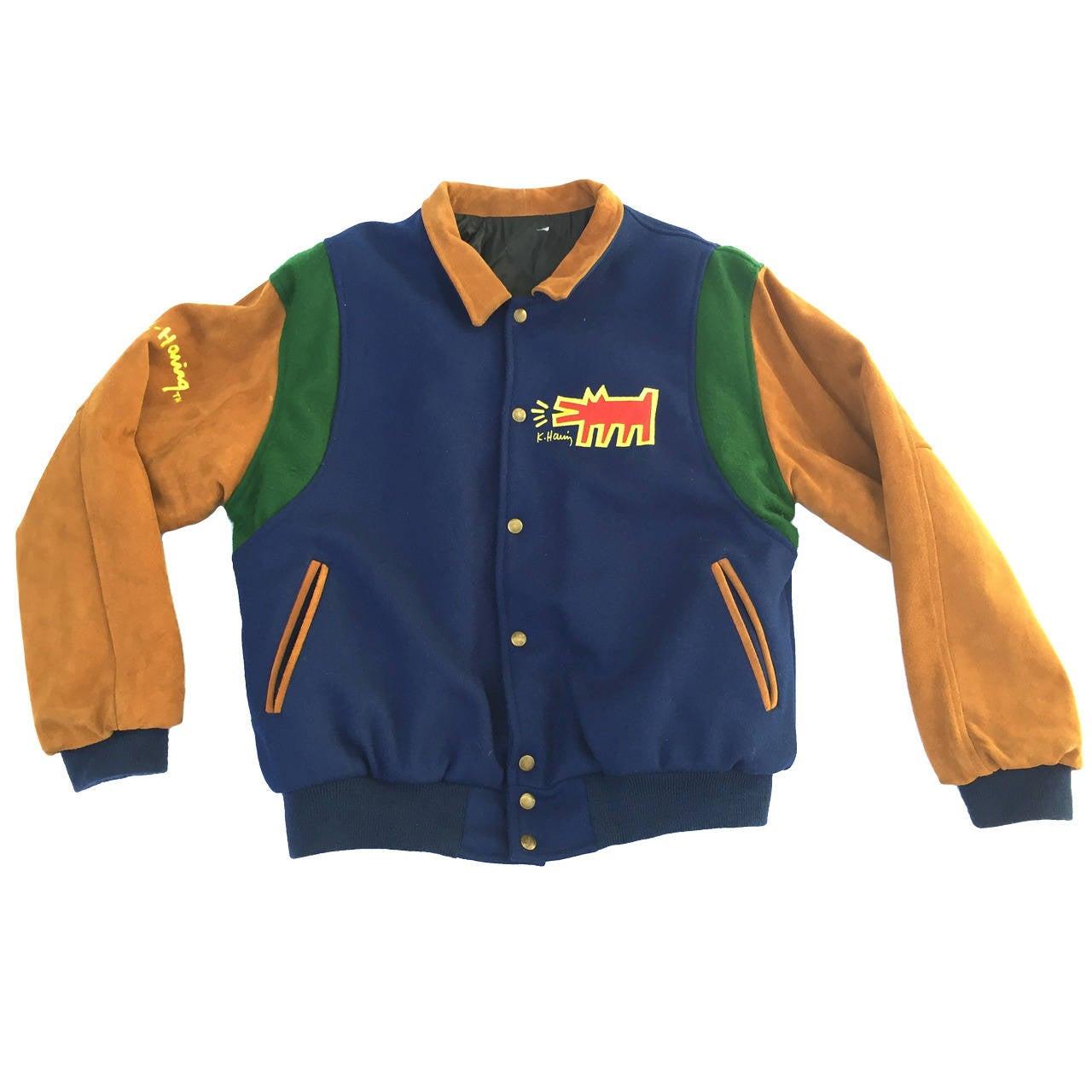 Keith Haring Barking Dog Varsity Men's Jacket Size Large.