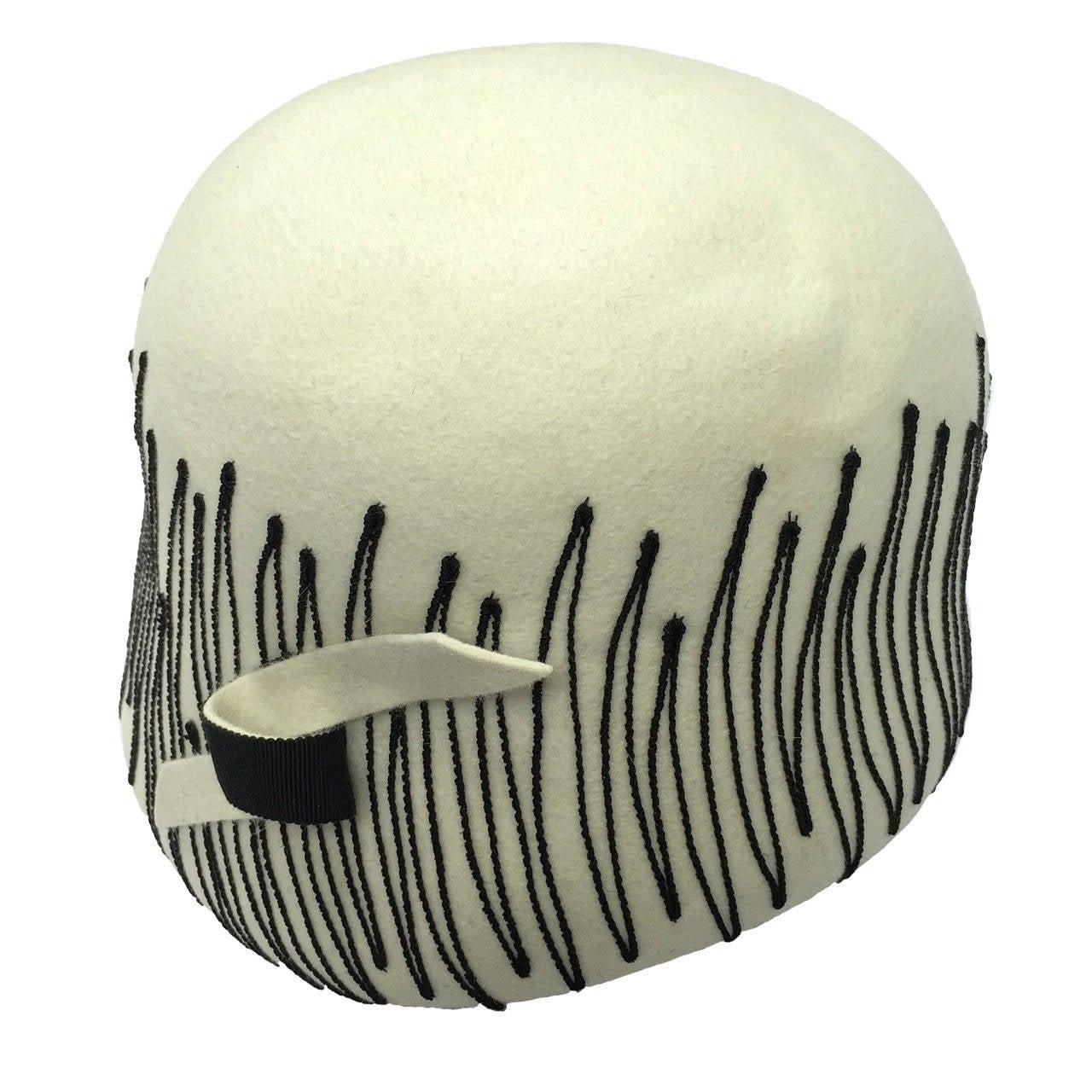 Elsa Schiaparelli Paris 1950s White Wool Felt Hat. 1