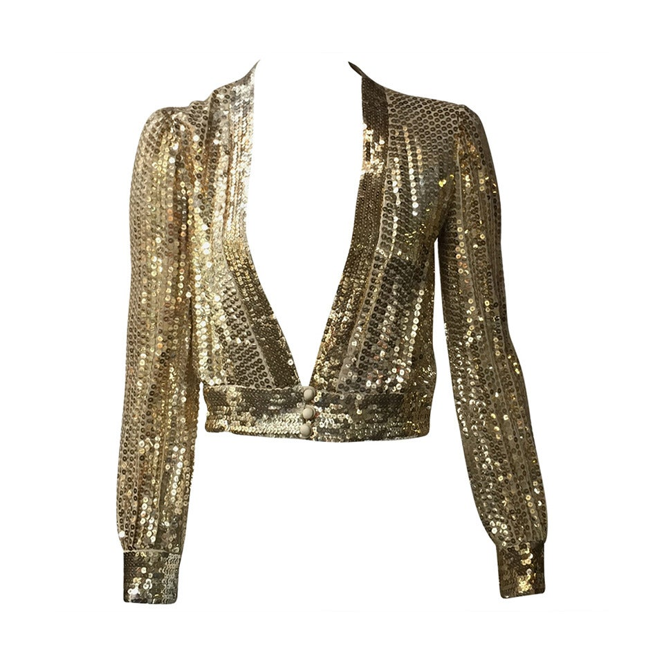 Scott Barrie 70s gold sequin cropped jacket size 4. 1