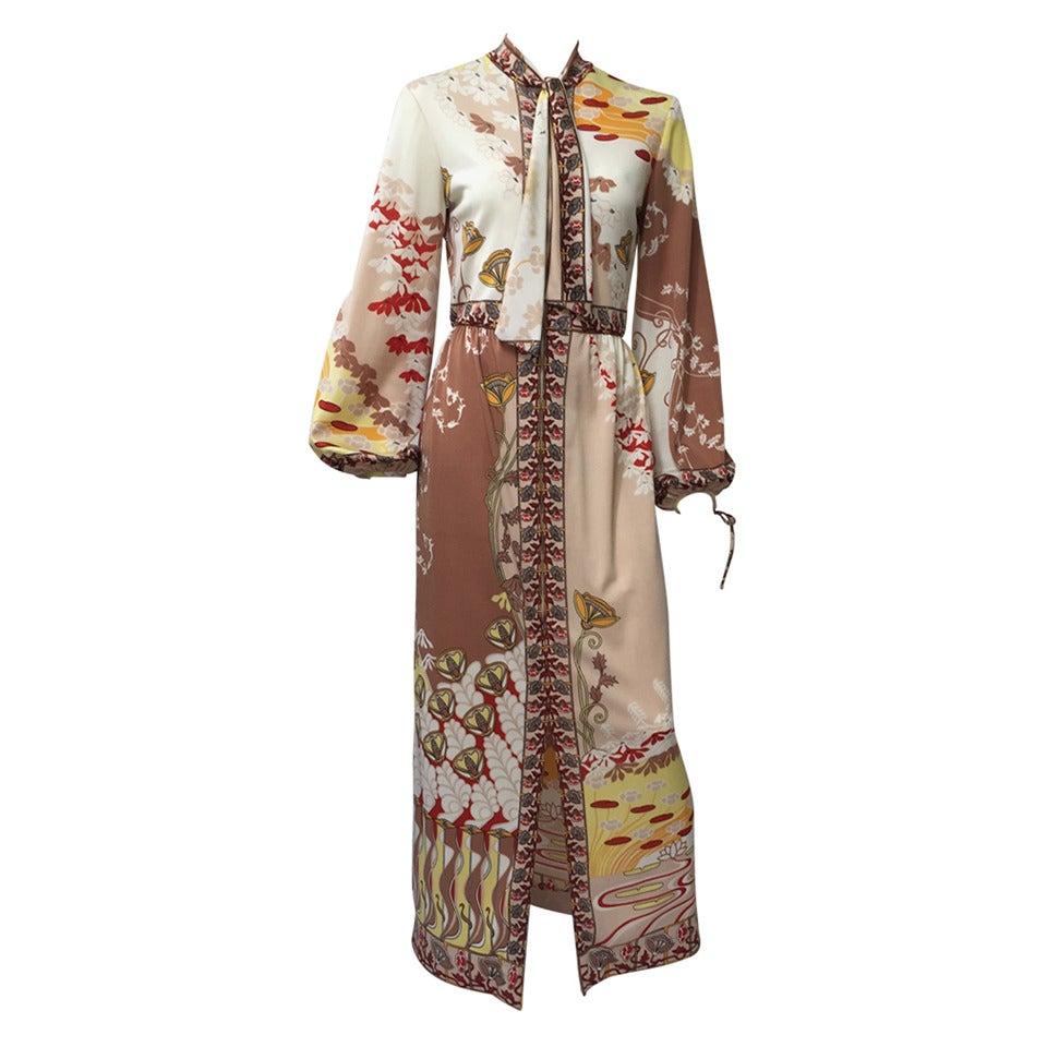 Paganne by Gene Berk 70s Asian landscape maxi dress size 4/6.