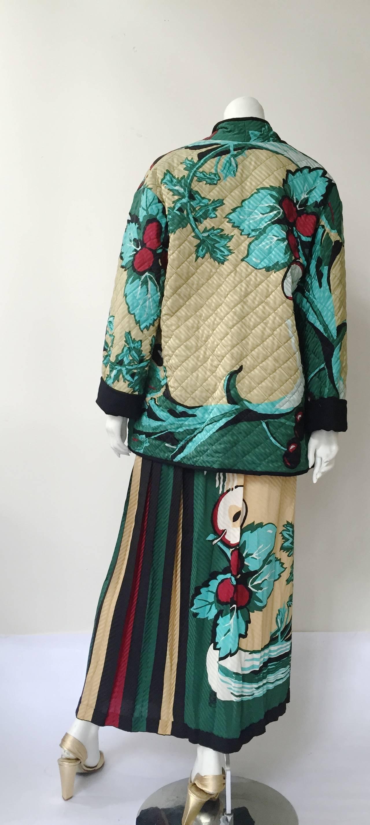Michaele Vollbracht 80s silk quilted jacket & skirt size 6. 7