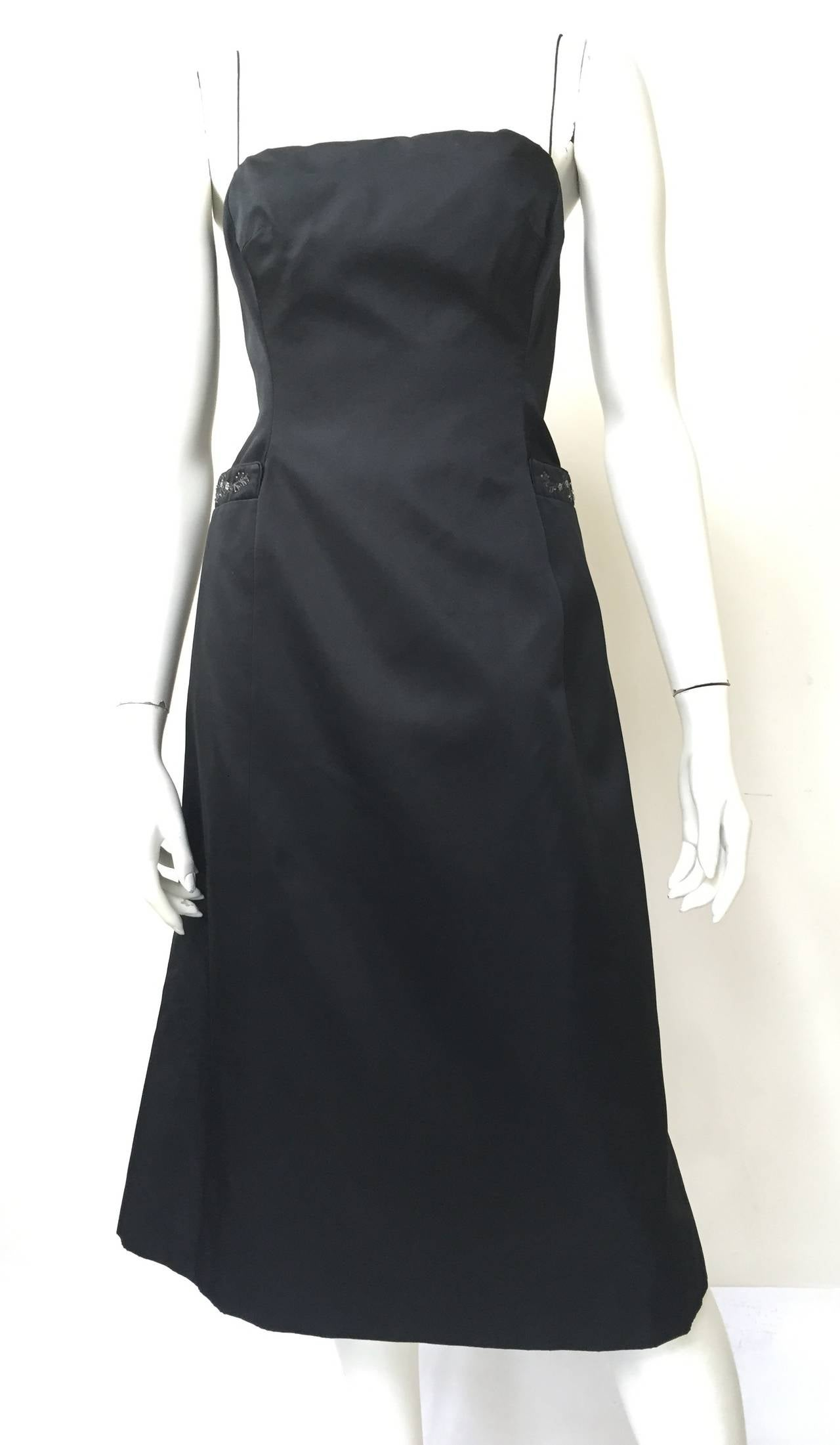 Richard Tyler Couture 90s black silk spaghetti string dress size 8 made in the USA but fits like a modern USA size 6.  Ladies please use your measuring tape so you can properly measure your bust, waist & hips to make certain this will fit your